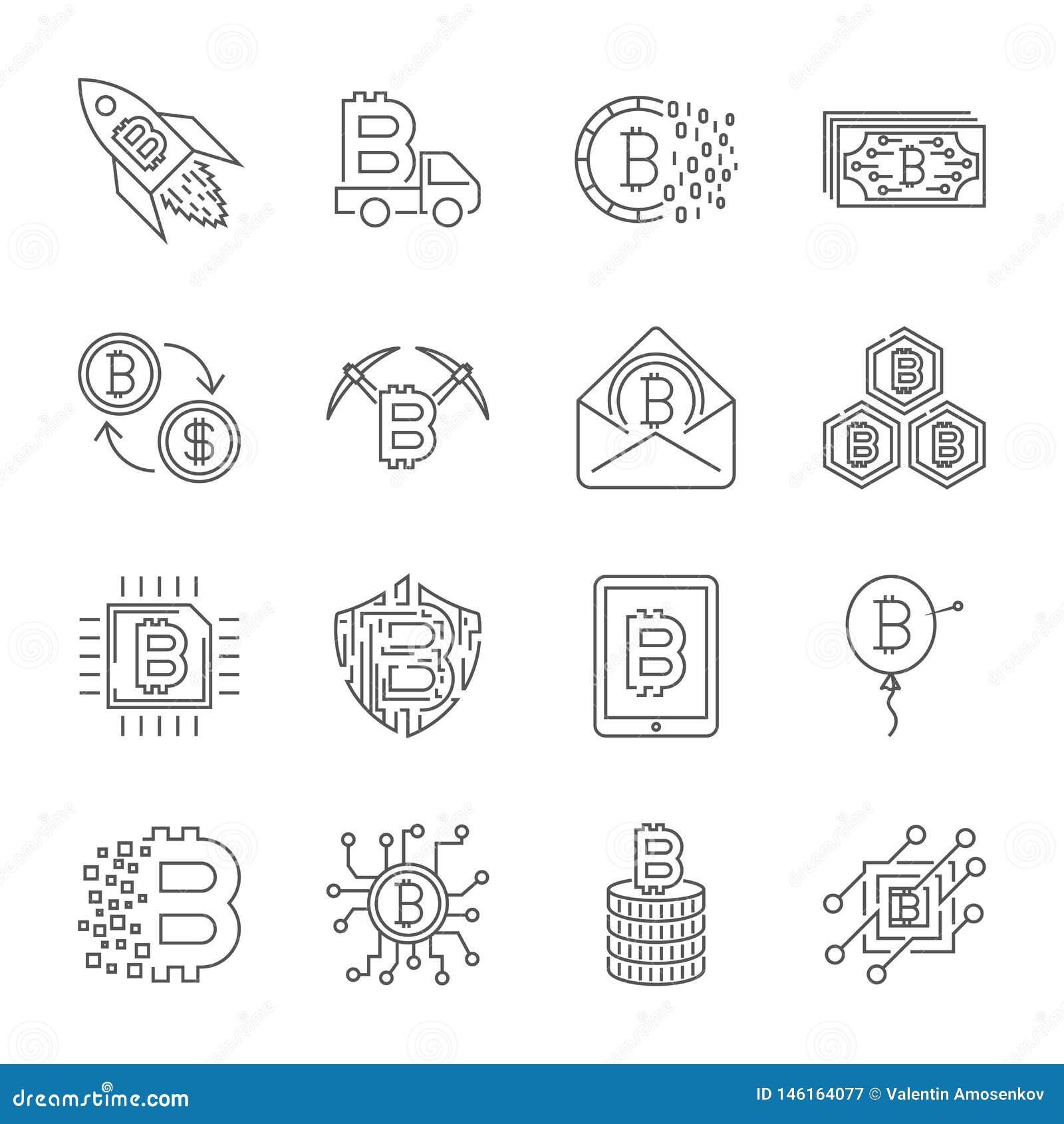 Sistema de la l?nea fina vector Bitcoin del movimiento e iconos de Cryptocurrency