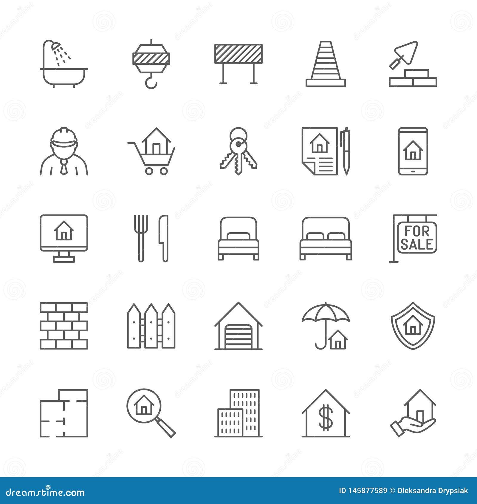 Sistema de la l?nea iconos de las propiedades inmobiliarias Cuarto de baño, grúa industrial, barrera del camino y más