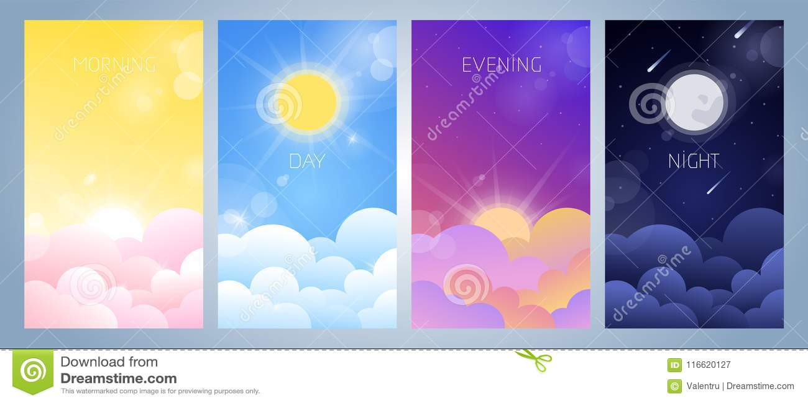 Sistema de la mañana, del día, de la tarde y del ejemplo del cielo nocturno