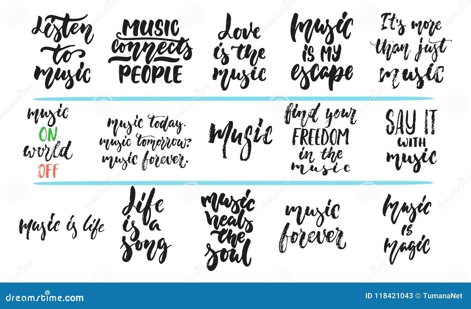 Sistema De La Mano Dibujado Poniendo Letras A Frase Sobre Música