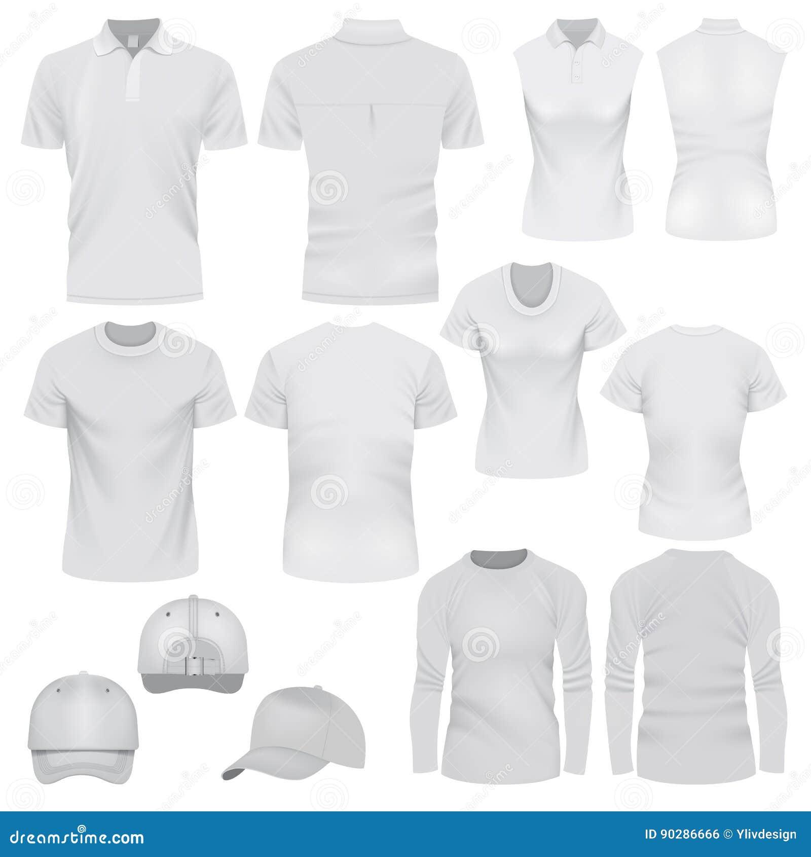 Sistema de la maqueta del casquillo de la camiseta, estilo realista