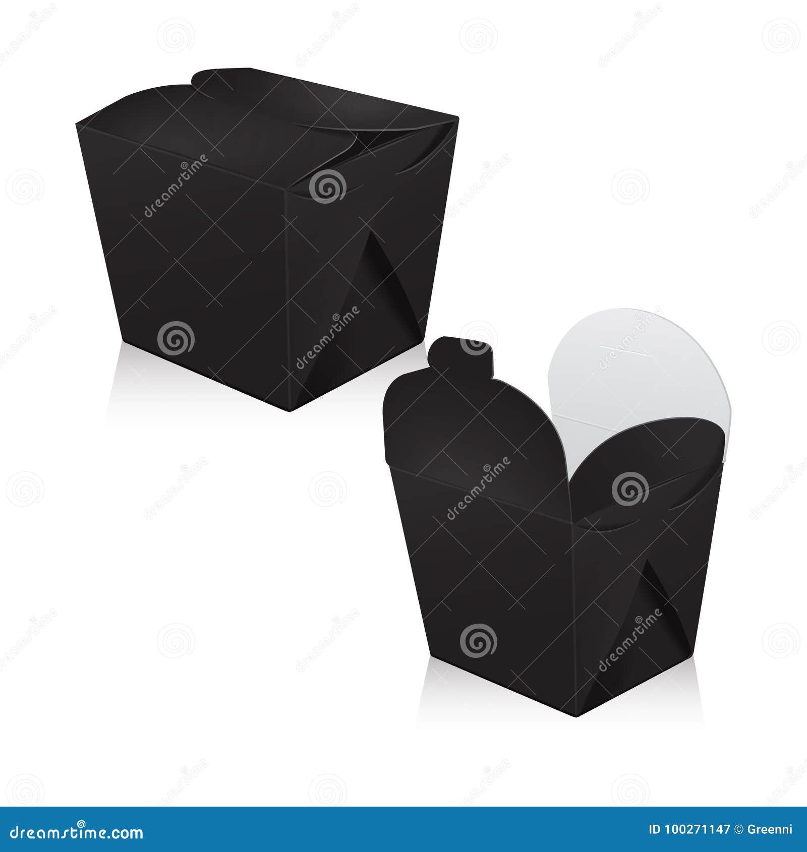 Sistema de la maqueta en blanco negra de la caja del wok Empaquetado del vector 3d La caja del cartón para asiático o chino se ll