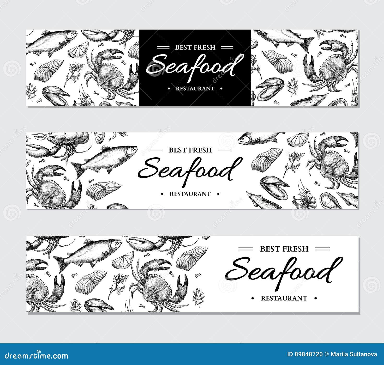 Sistema de la plantilla del vector de la bandera de los mariscos Ilustración drenada mano Cangrejo, langosta, camarón, ostra, mej