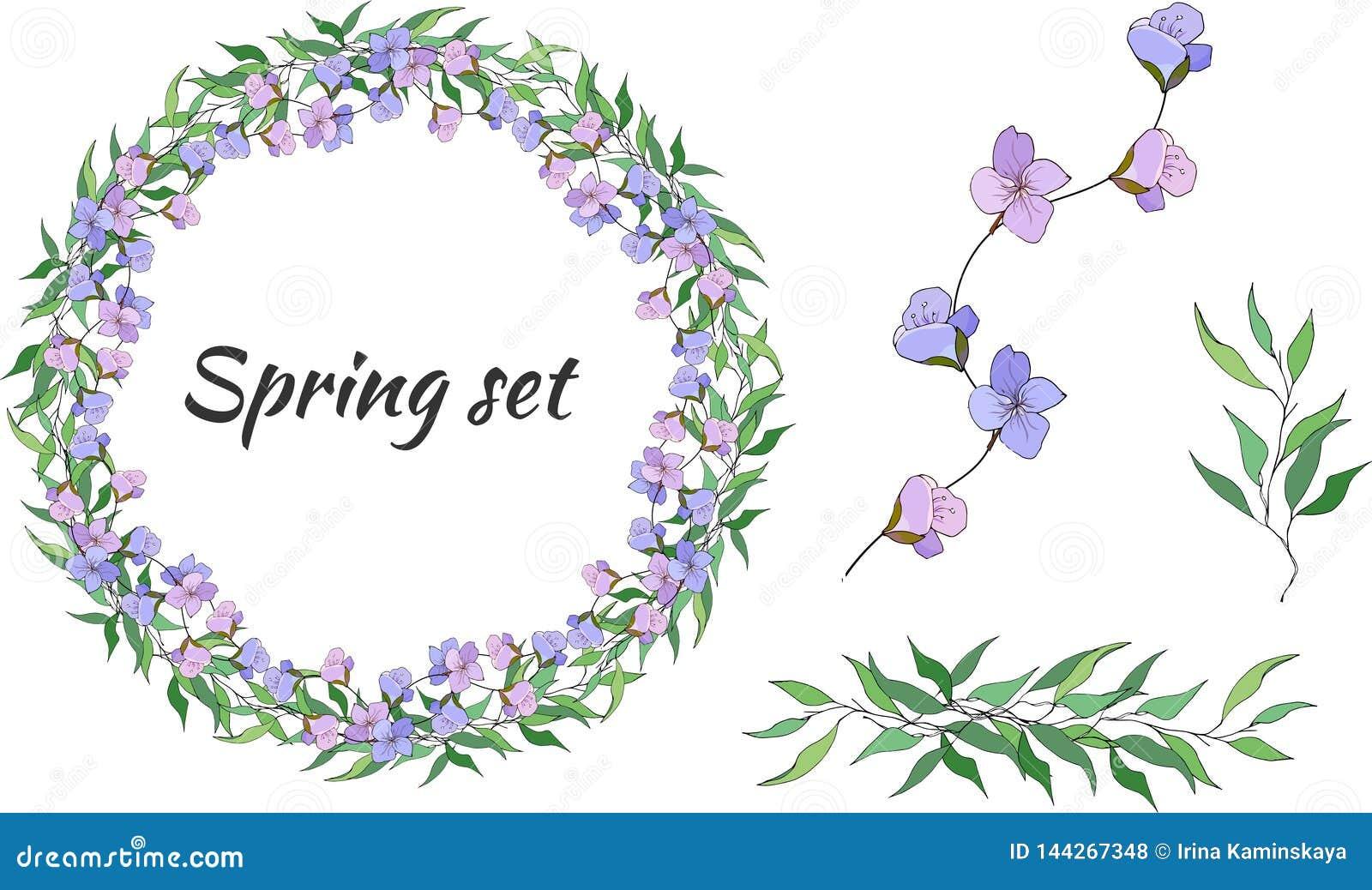 Sistema de la primavera de estampados de flores, de ornamentos y de guirnaldas del vector de flores violetas delicadas y de hojas