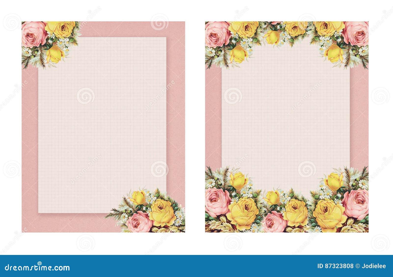 Sistema de la rosa floral del estilo elegante lamentable imprimible del vintage dos inmóvil en fondo del Libro Verde