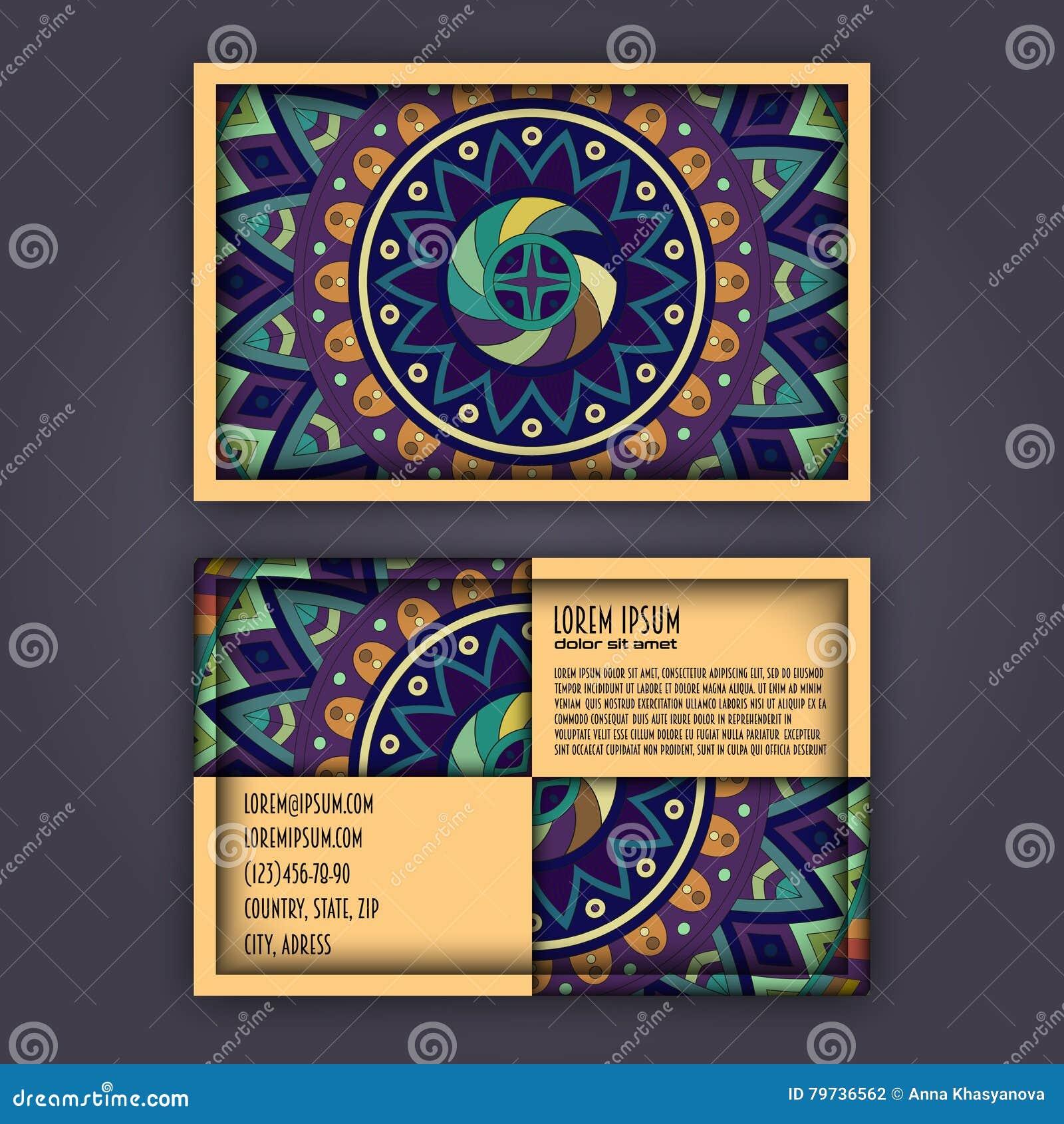 Sistema de la tarjeta de visita del vintage del vector Modelo y ornamentos florales de la mandala Disposición de diseño oriental