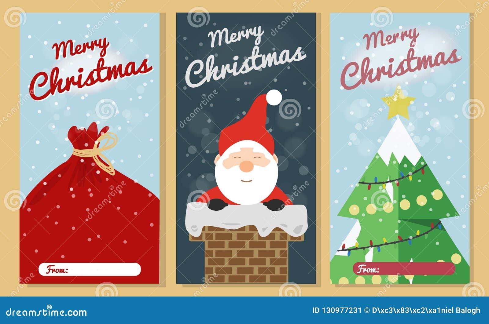 Sistema de la tarjeta de felicitación de la Navidad Colecciones de la tarjeta de felicitación del texto de la Feliz Navidad con l