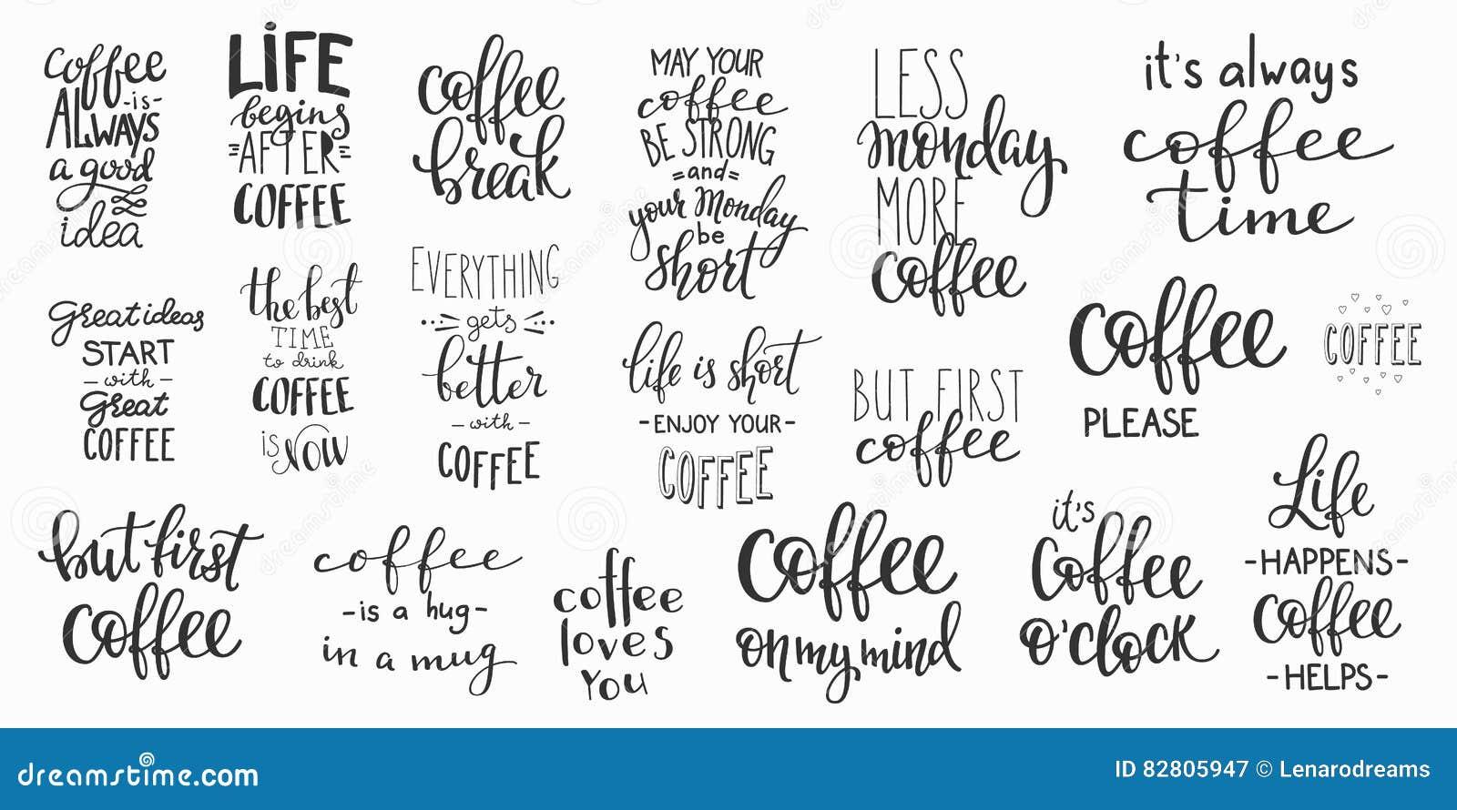 Sistema de la tipografía de la taza de café de la cita