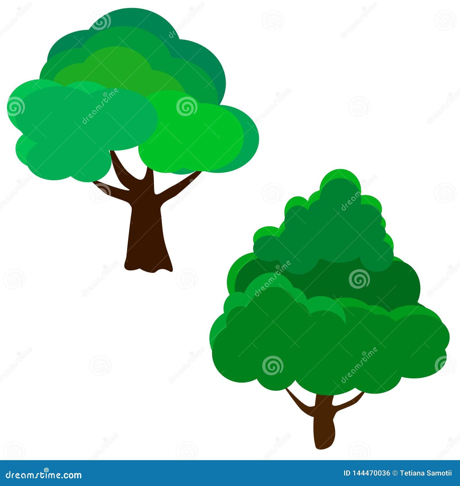 Sistema de la web de diversos árboles Ilustración EPS 10 del vector