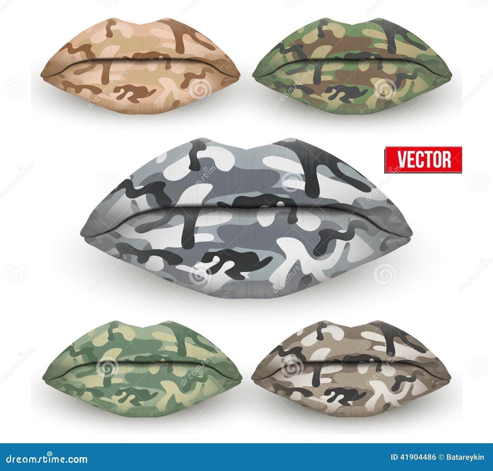 Sistema de labios hermosos con la textura de Camo Vector