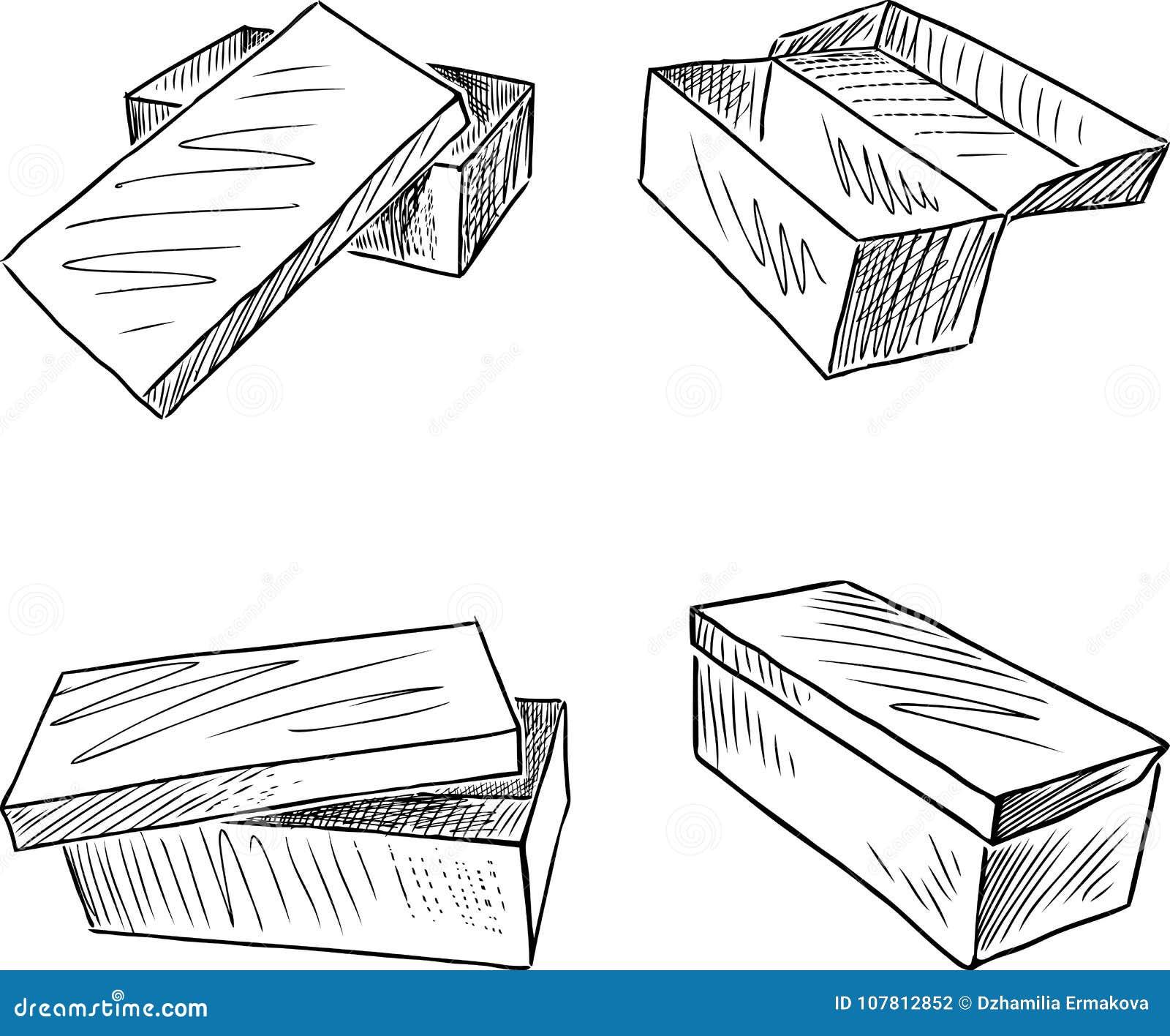 Sistema De Las Cajas Para Los Zapatos Ilustración Del Vector Ilustración De Zapatos Cerrado 107812852