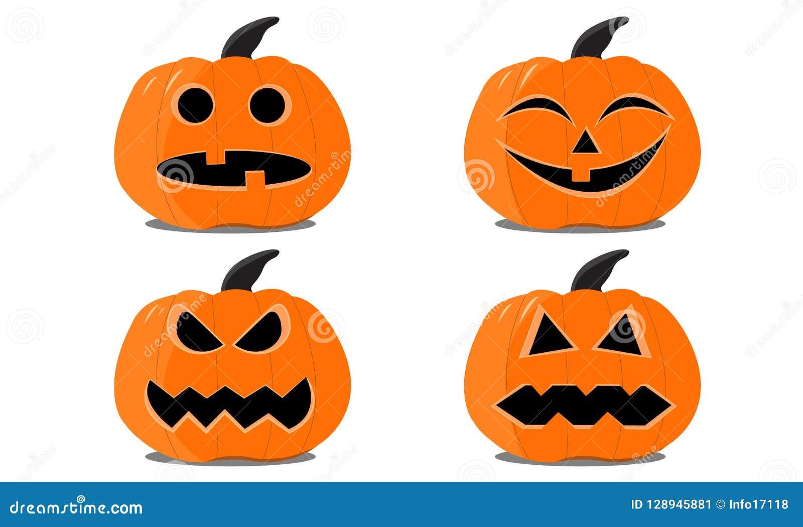 Sistema de las calabazas de Halloween en el fondo blanco