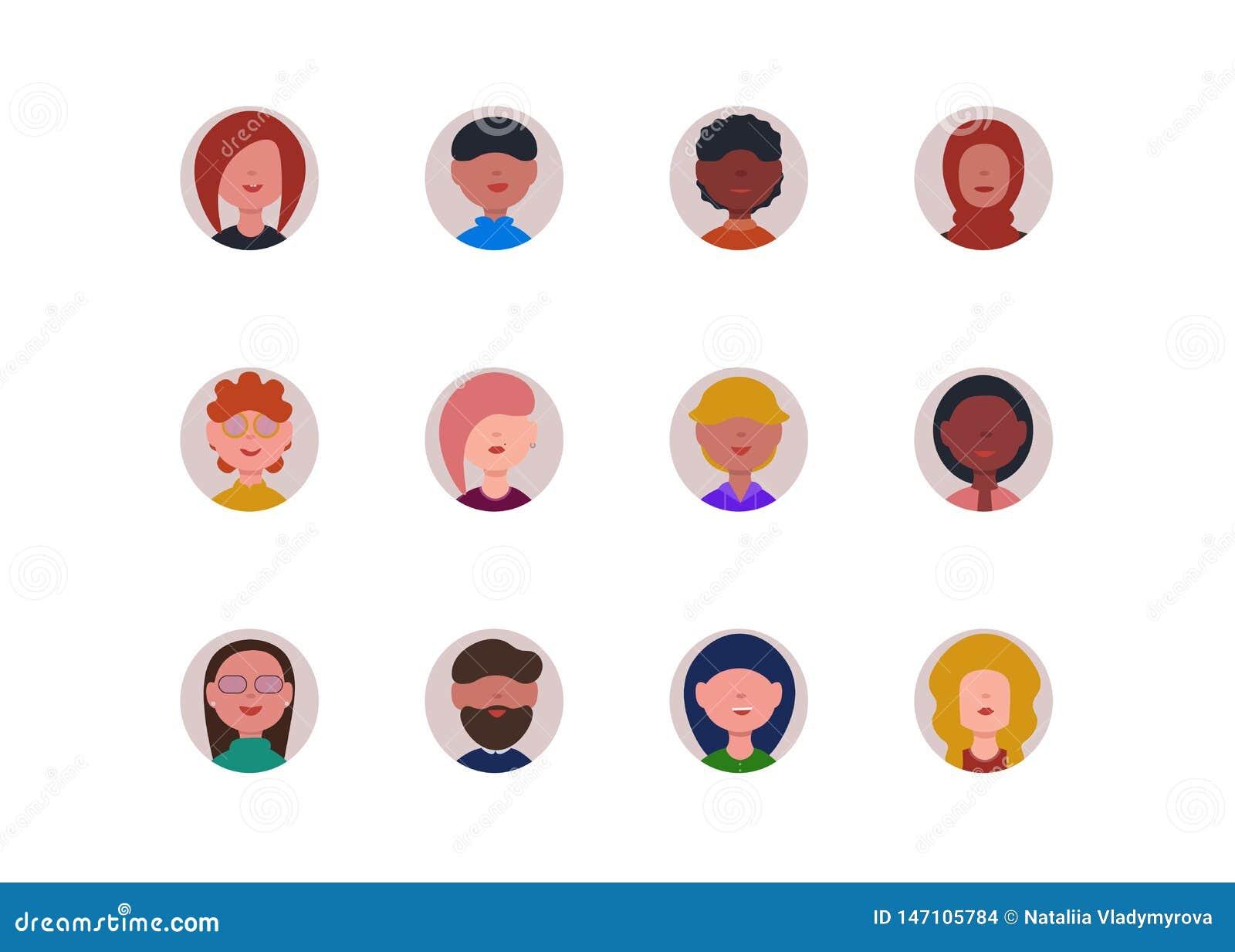 Sistema de las caras de la gente de los iconos de Avatar aislado en el backgroud blanco