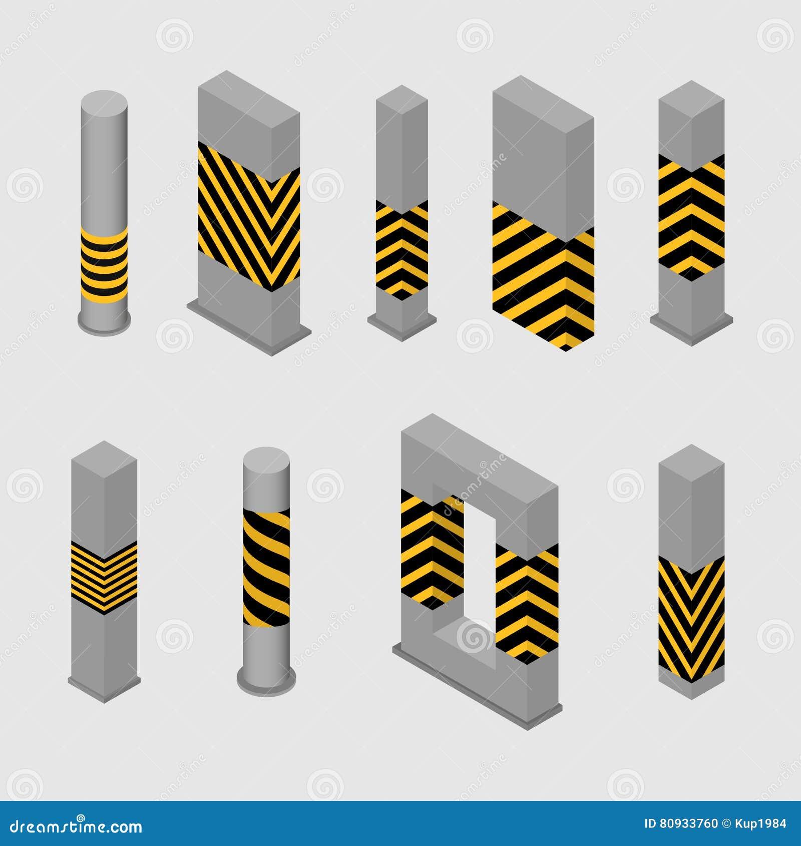eeb3d1896834 Sistema de diversos columnas y pilares de la forma en un estilo isométrico,  aislado en el fondo blanco Diseñe los elementos para construir y la  arquitectura ...