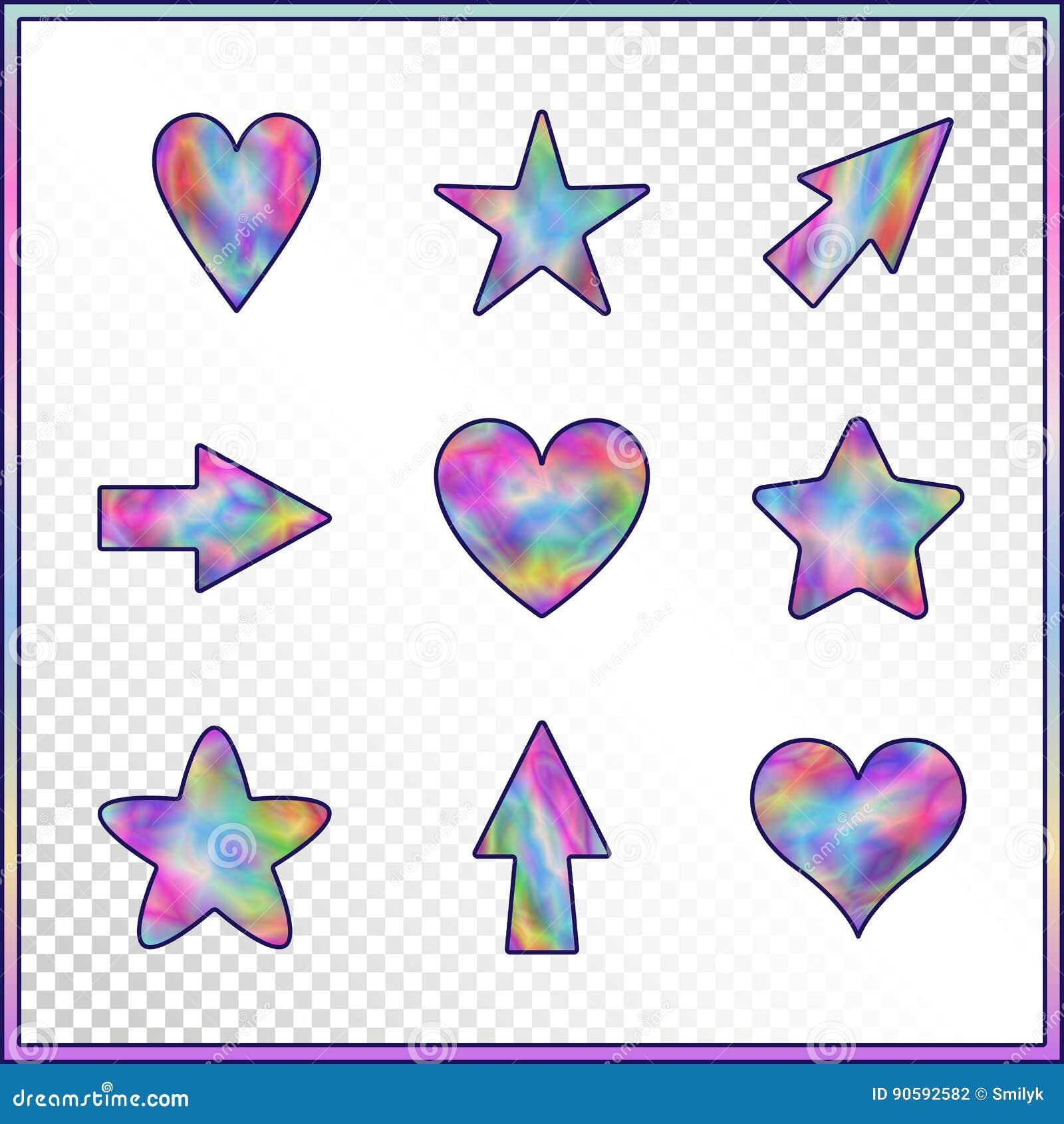 Sistema De Las Estrellas Corazones Flechas Con Efecto Olográfico