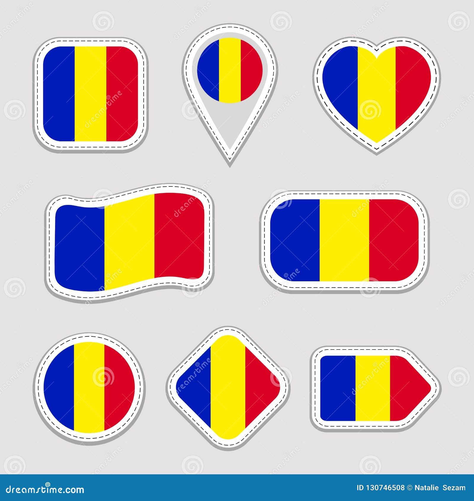 Sistema de las etiquetas engomadas de la bandera de Rumania Insignias rumanas de los símbolos nacionales Iconos geométricos aisla