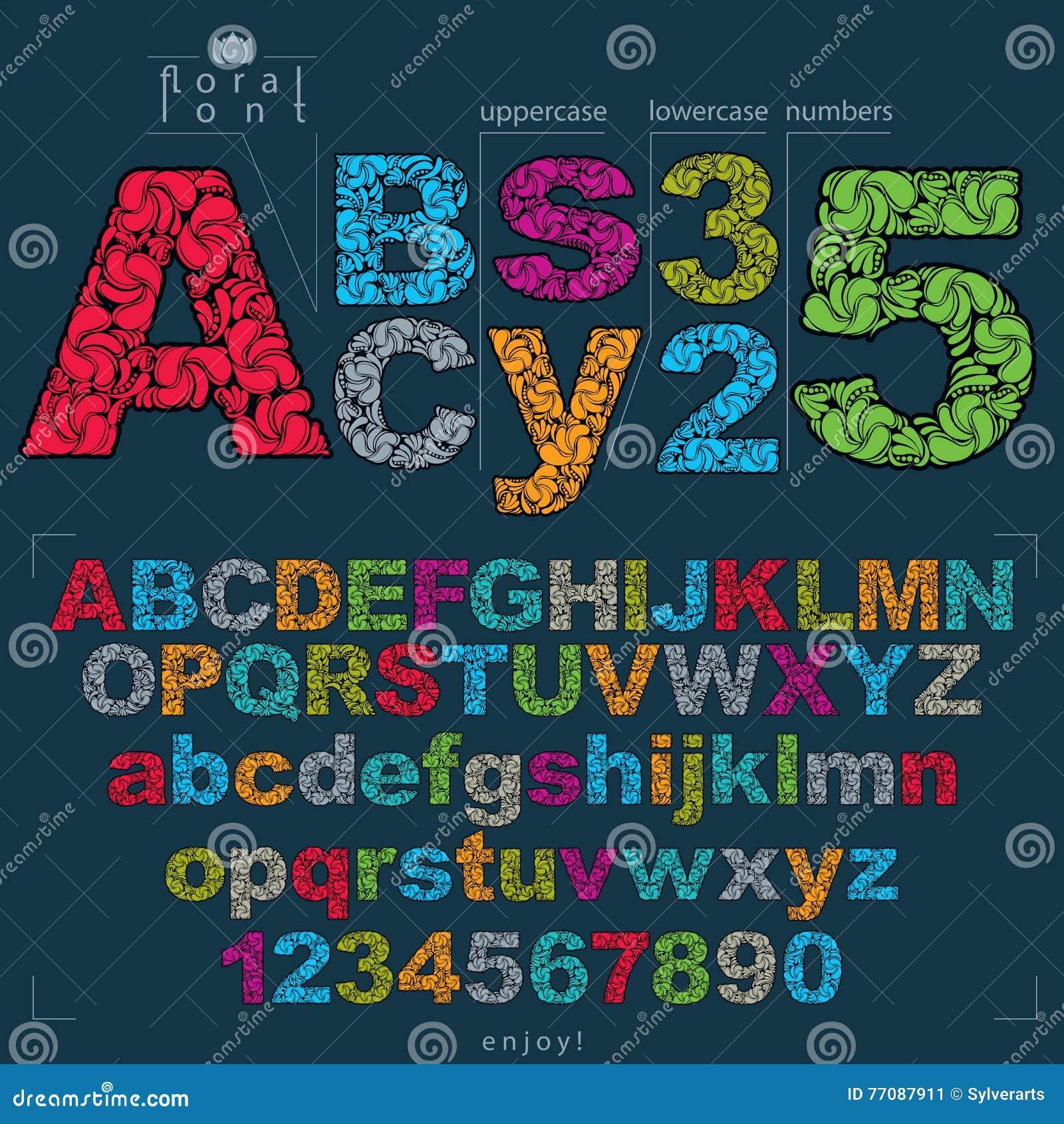 Sistema de las letras y de los números adornados, tipos flor-modelados del vector
