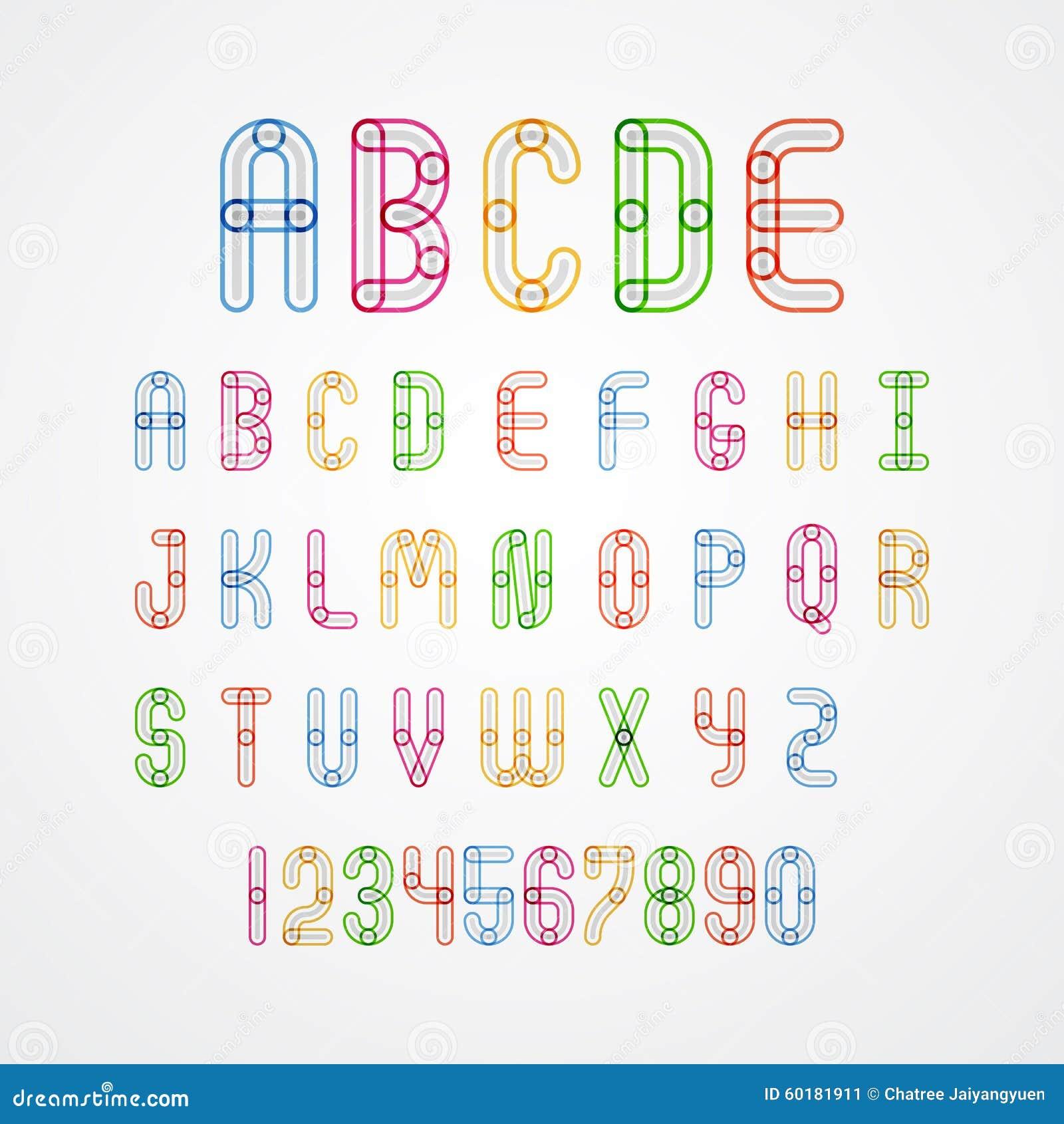 Sistema de las mayúsculas A a Z y números del alfabeto colorido