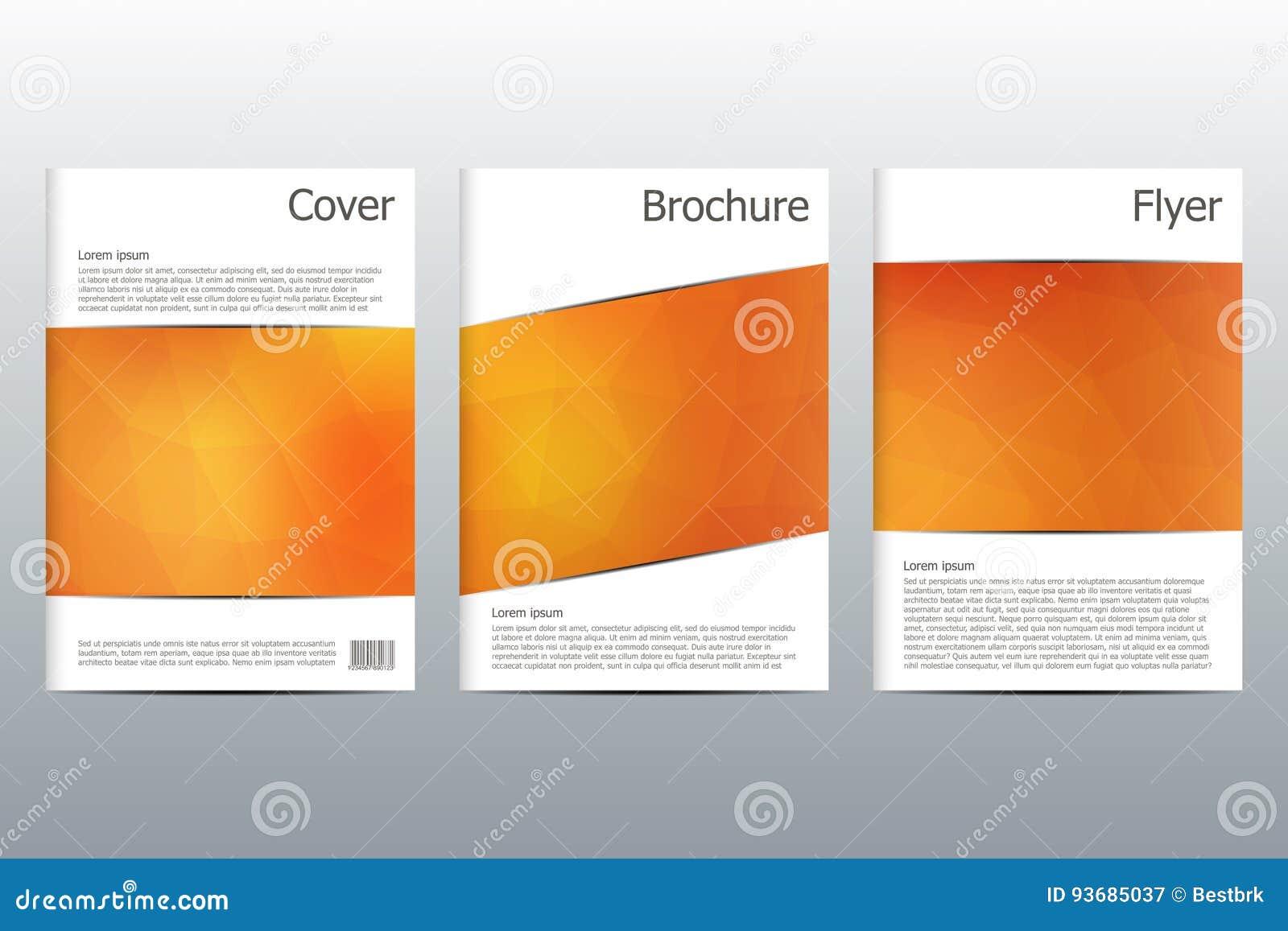 Sistema de las plantillas del negocio para el folleto, aviador, revista de la cubierta de tamaño A4 Dimensión de una variable tri