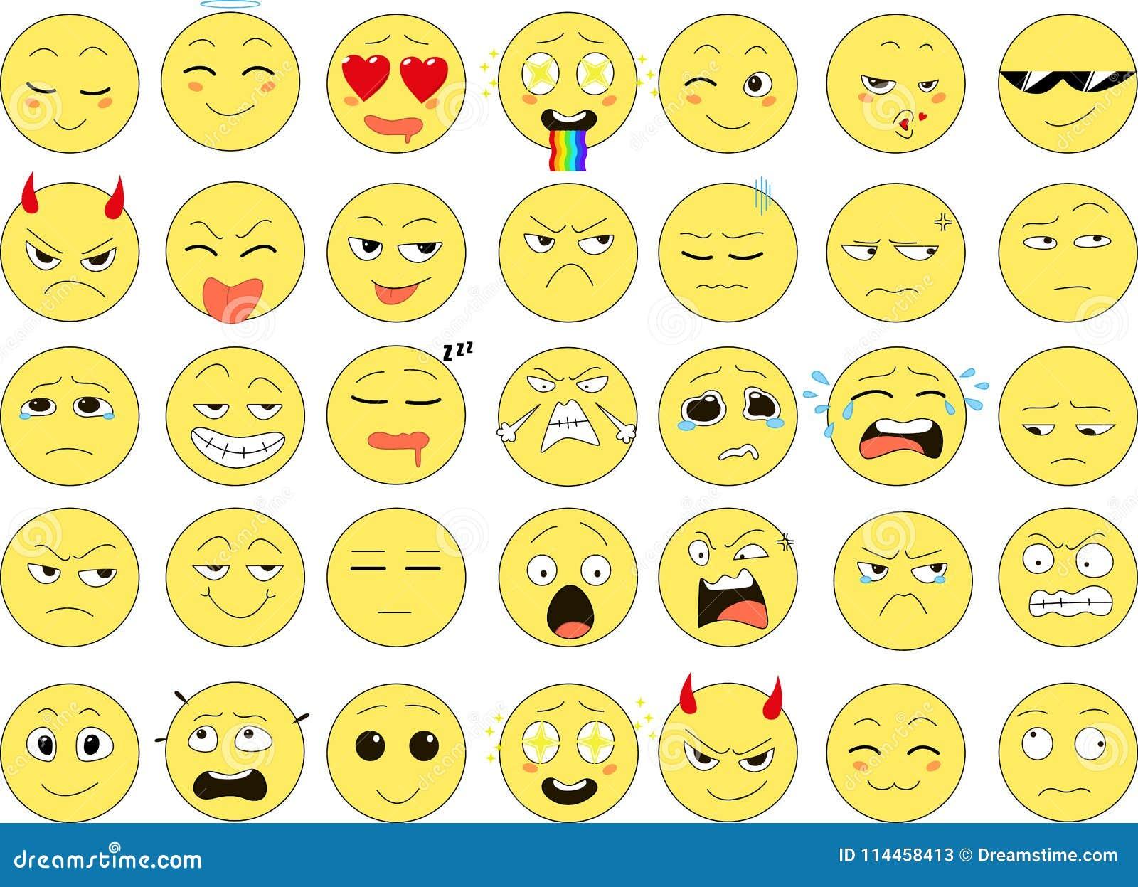 Sistema de las sonrisas divertidas, iconos del web, vector