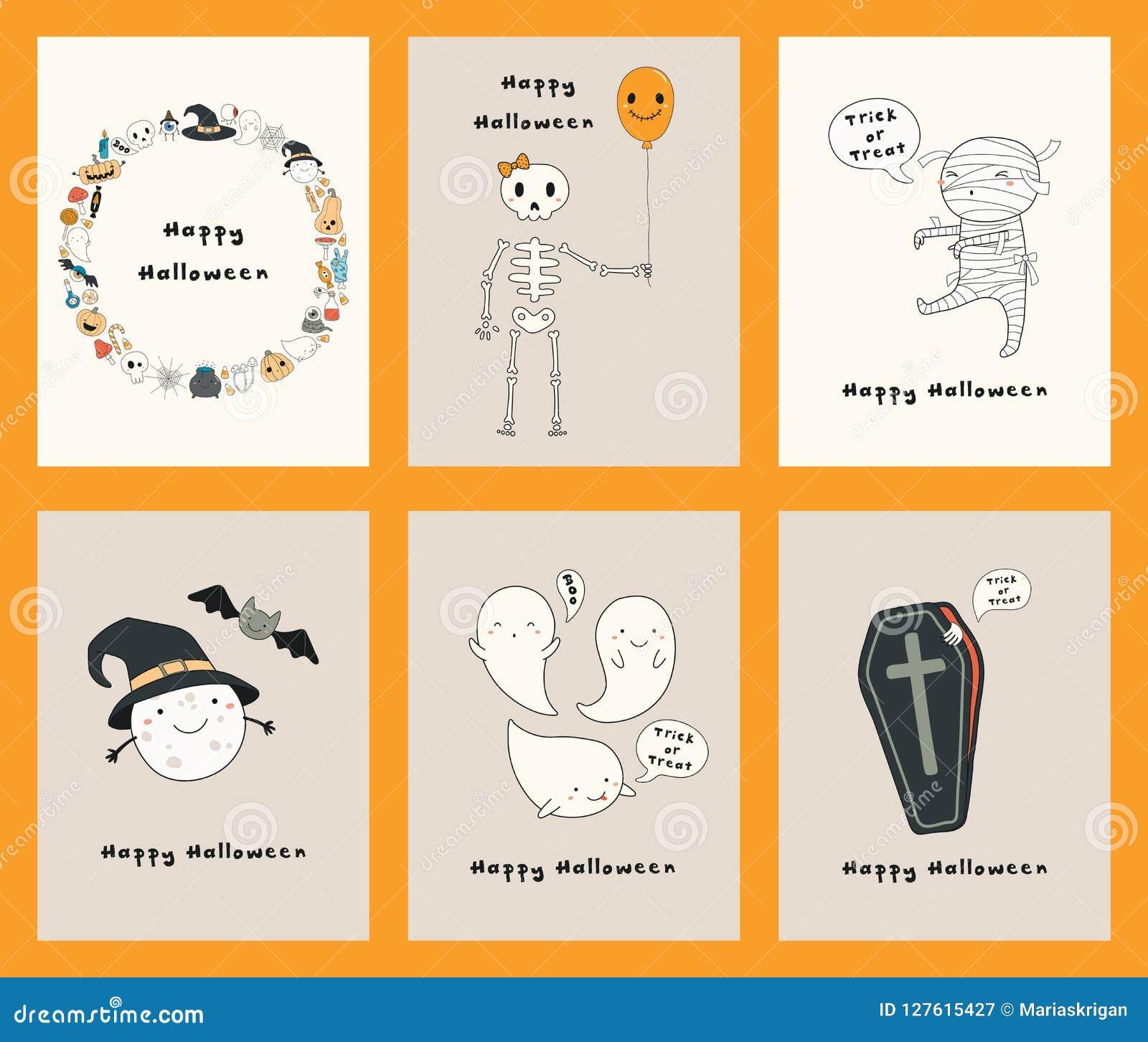 Sistema de las tarjetas de Kawaii Halloween