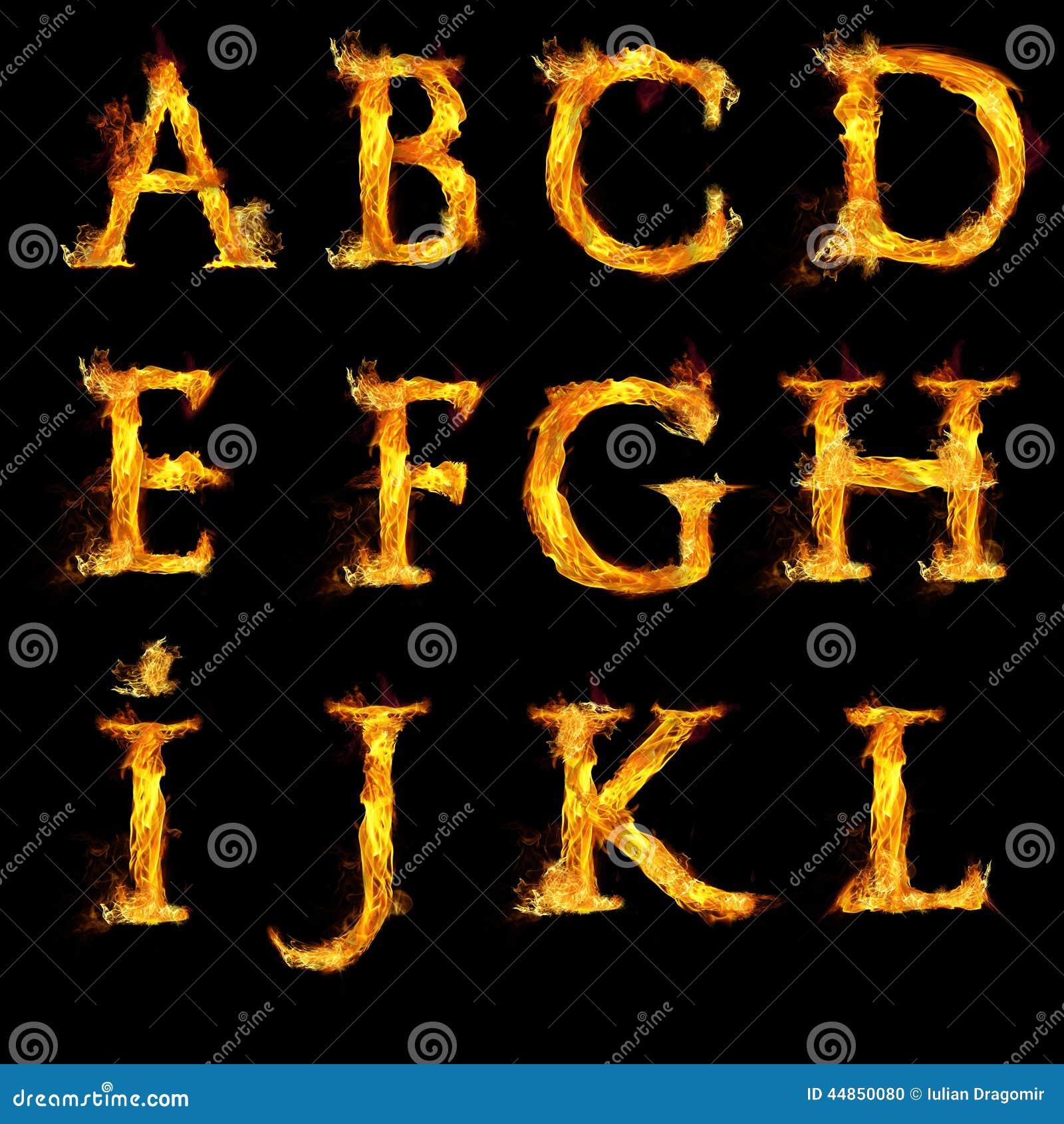 Sistema de letras en llamas