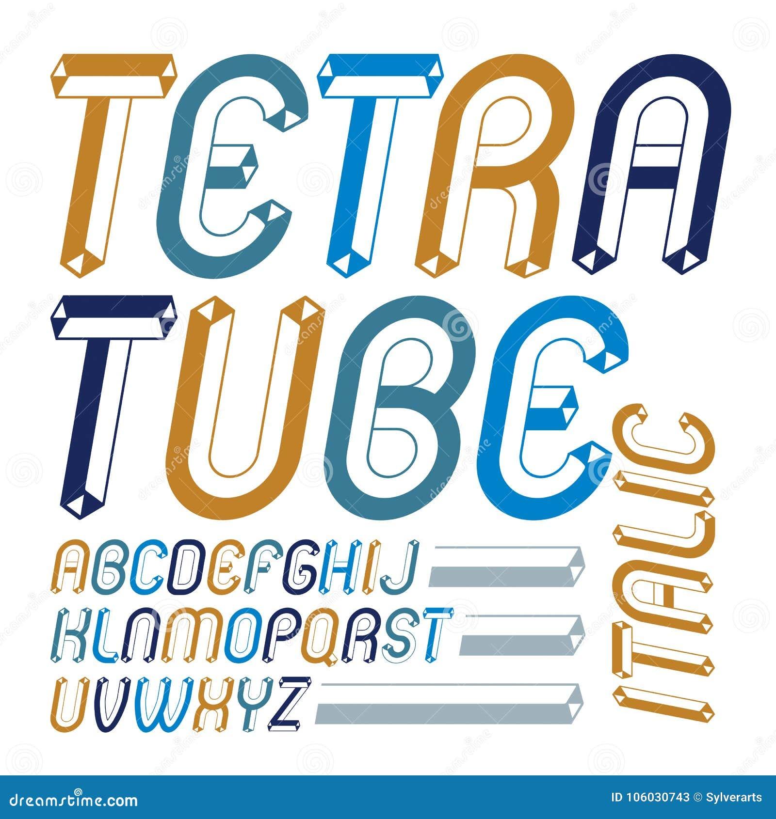 Sistema de letras mayúsculas del alfabeto inglés del vector fresco del vintage,