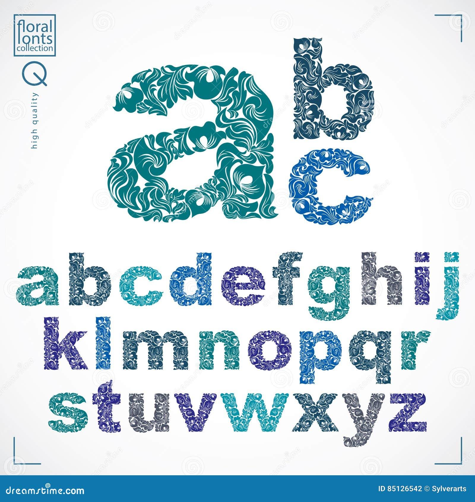 Sistema de letras minúsculas adornadas del vector, typescr flor-modelado