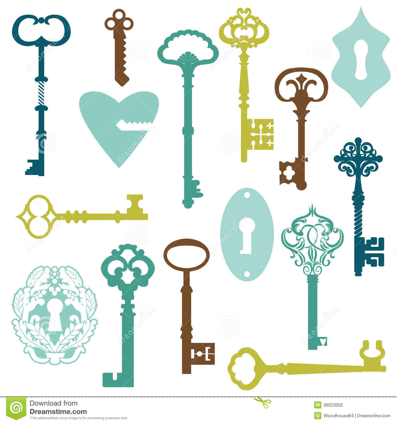The gallery for vintage lock and key clip art for Llaves para lavabo antiguas