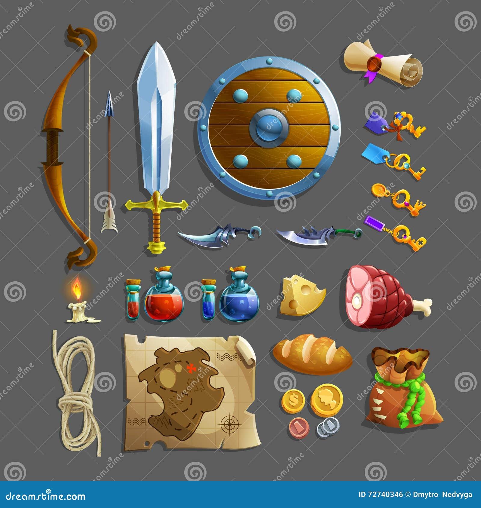 Sistema de los artículos para el juego Diversas comida, arma, poción y herramientas