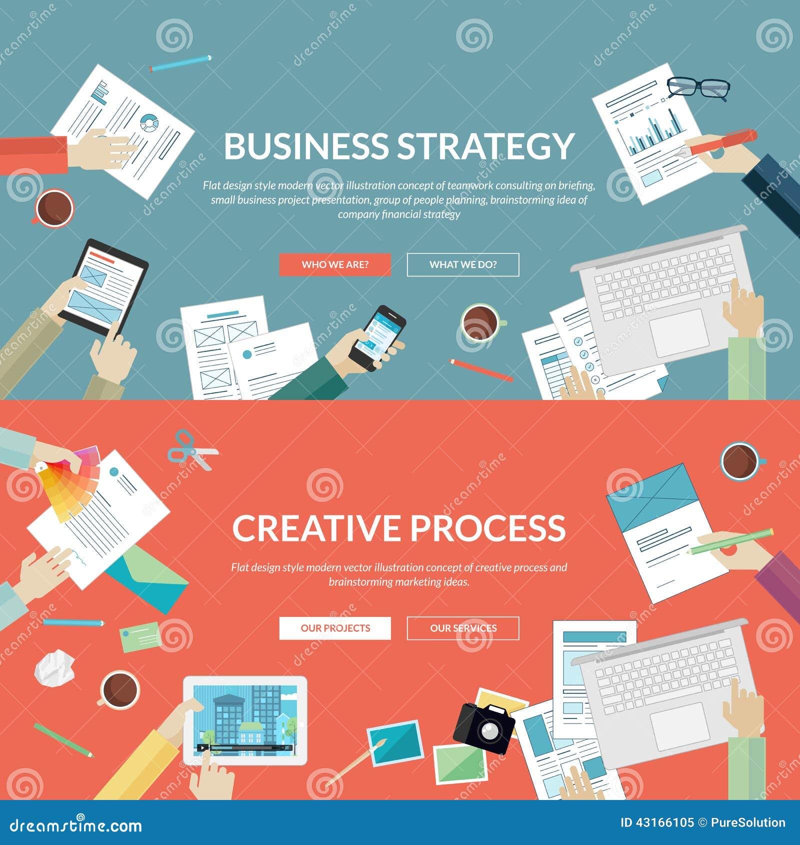 Sistema de los conceptos de diseño planos para la estrategia empresarial y el proceso creativo