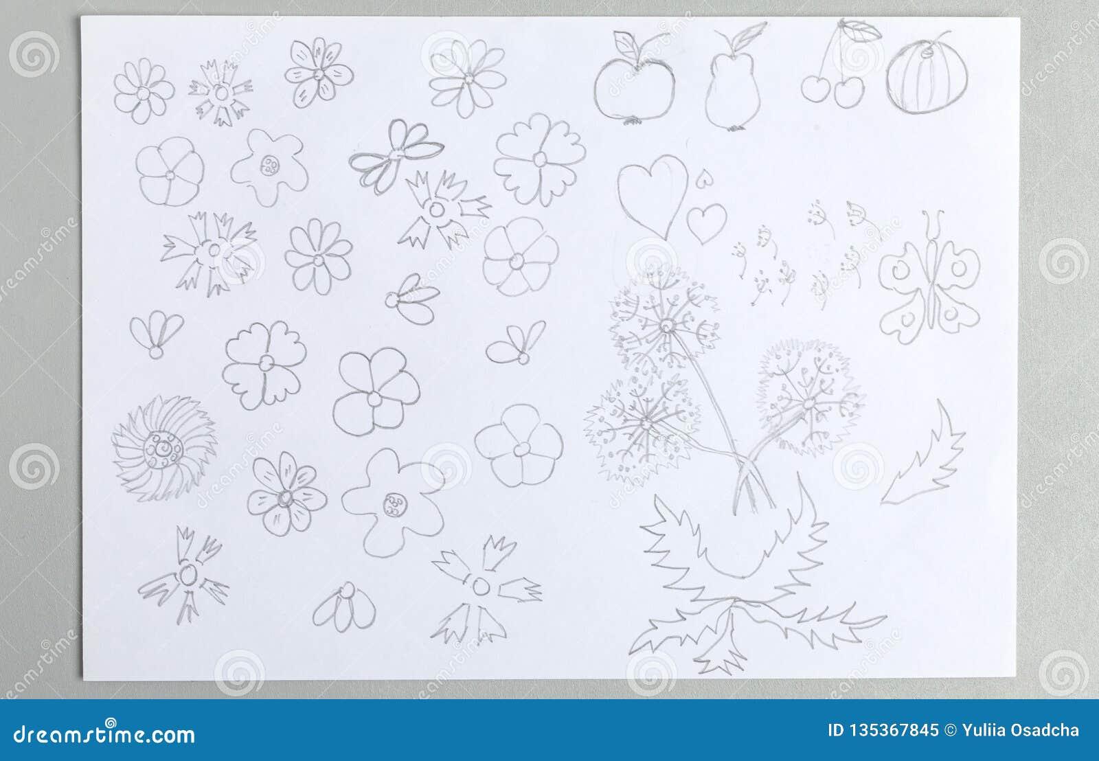 Sistema de los dibujos del niño de las diversas frutas y mariposa de las cabezas de flor