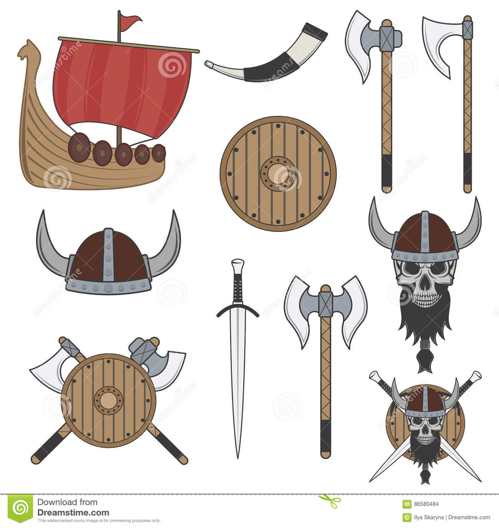 Sistema de los elementos de vikingo del color aislados en el fondo blanco