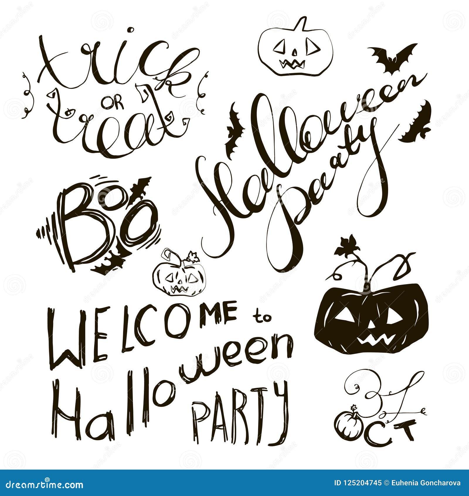 Sistema De Los Elementos Dibujados Mano De Halloween Y