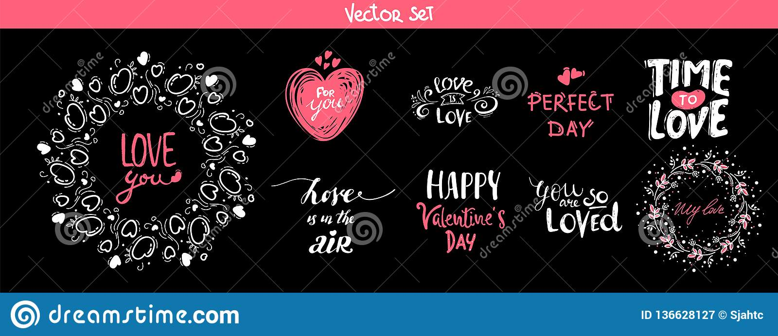 Sistema de los elementos de las letras de la decoración para el día de San Valentín, ejemplo del vector Mano colección exhausta d