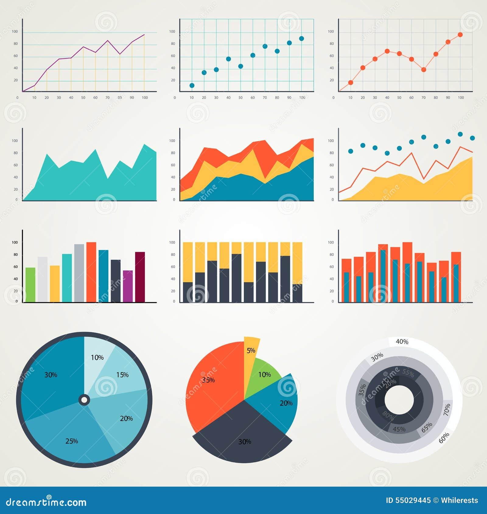 Sistema de los elementos para el infographics, cartas, gráficos, diagramas En color Graphhics del vector