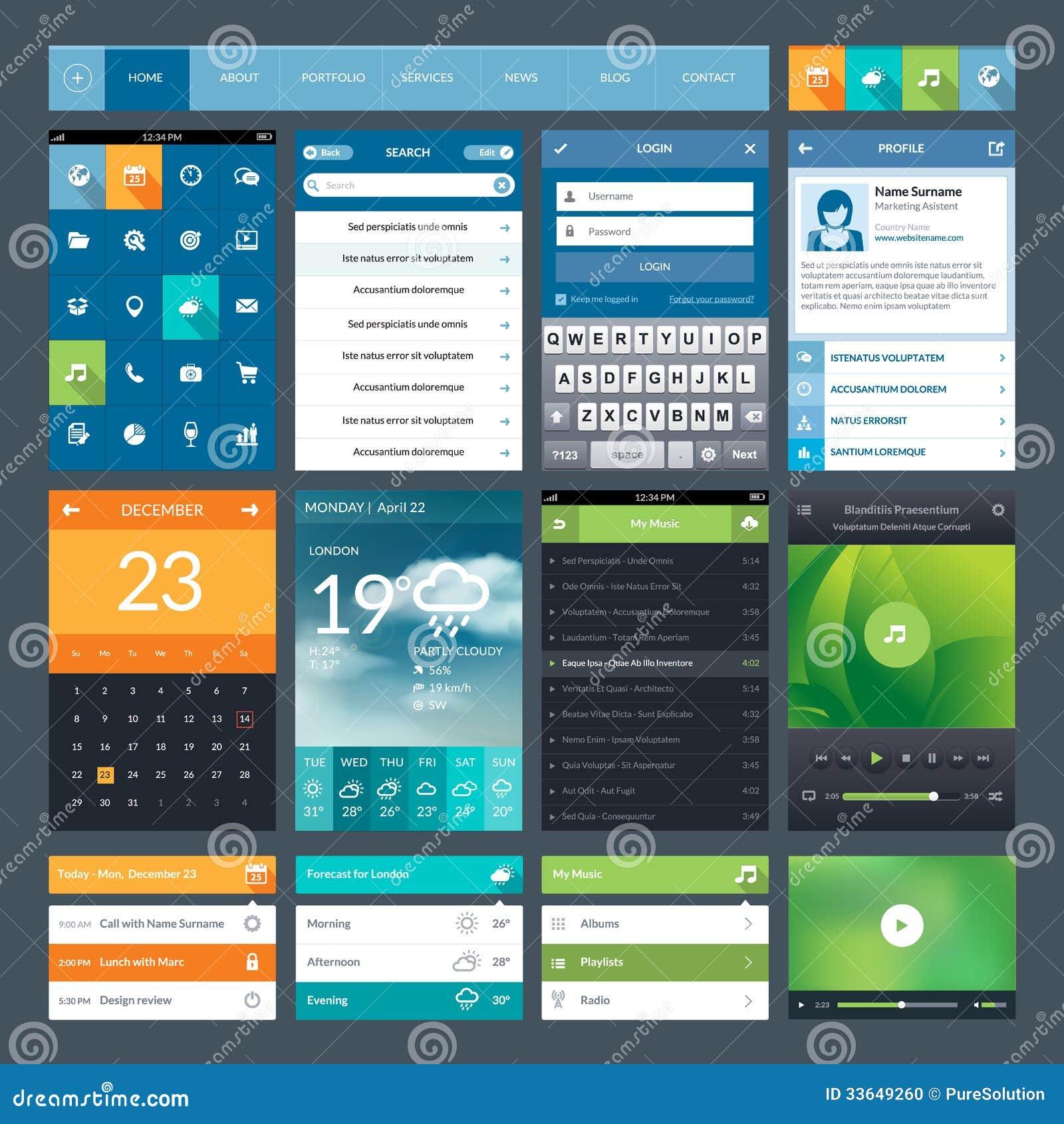 Sistema de los elementos planos del ui del diseño para el app móvil y