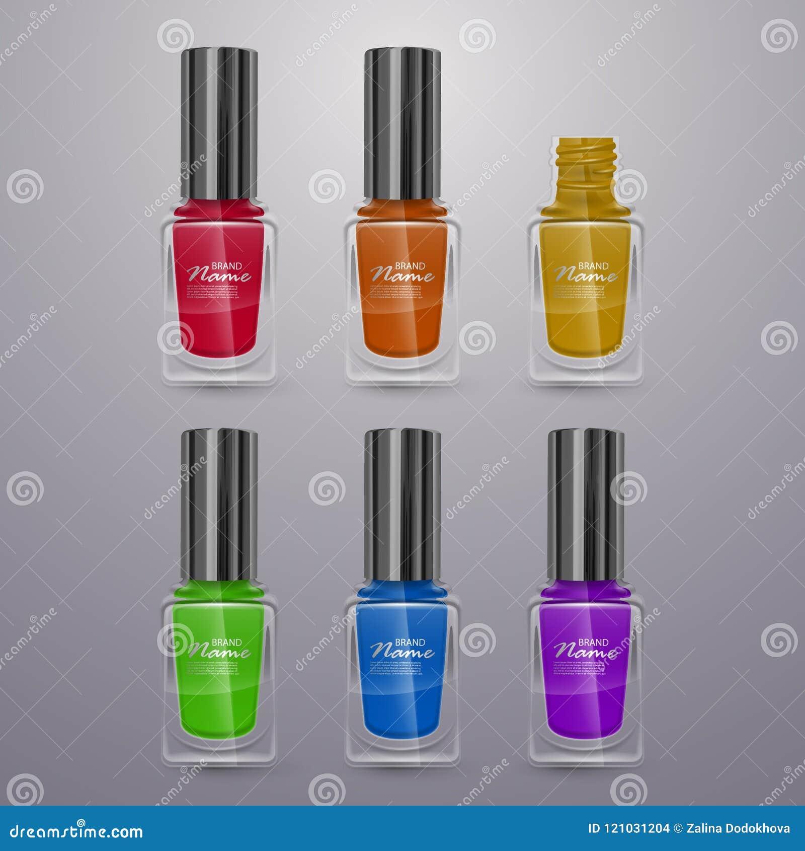 Sistema De Los Esmaltes De Uñas Realistas De Colores