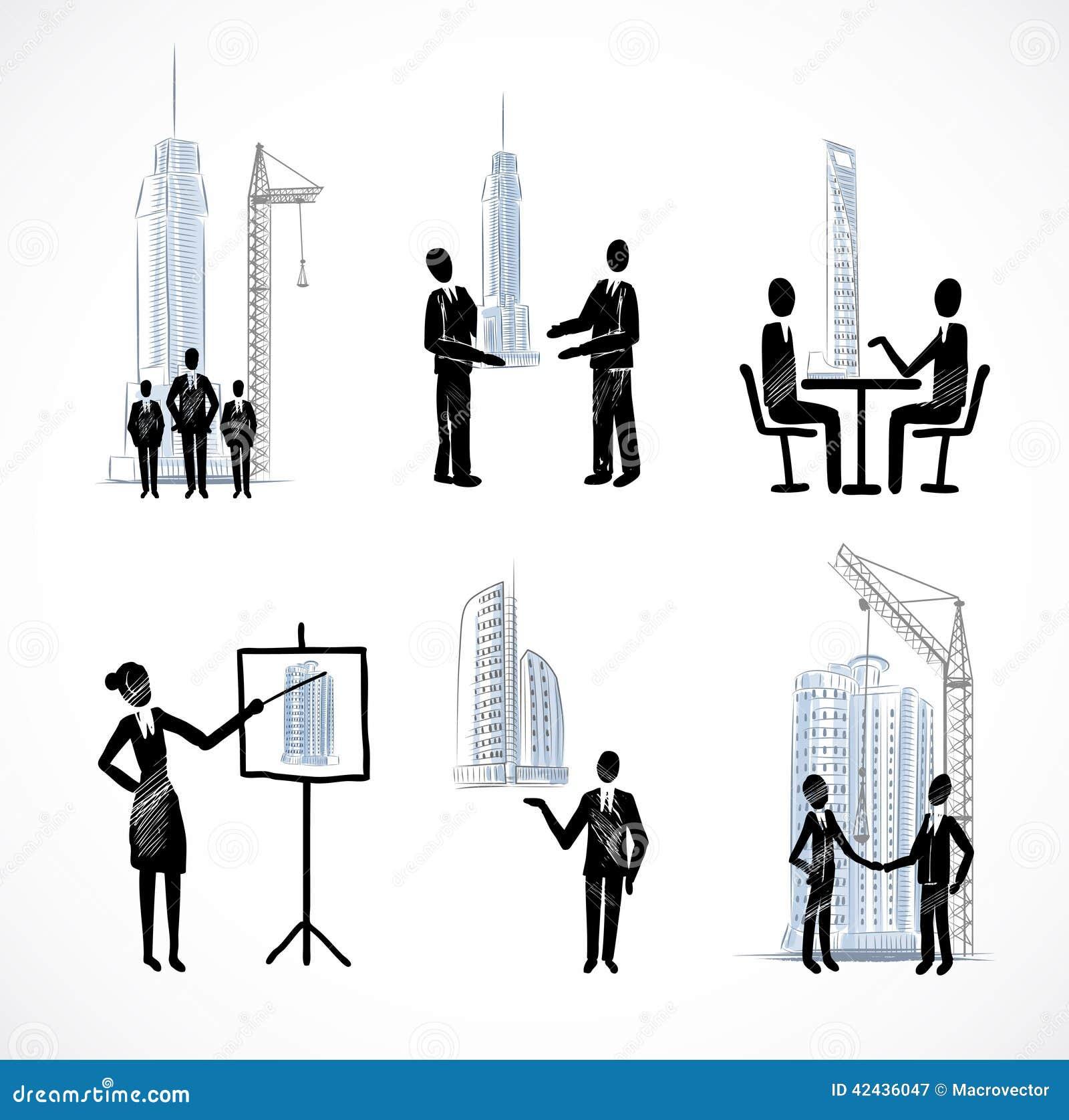 Sistema de los hombres de negocios con los edificios