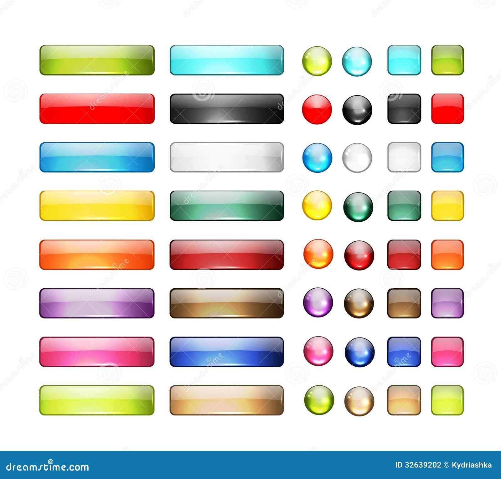 Sistema de los iconos brillantes del botón para su diseño