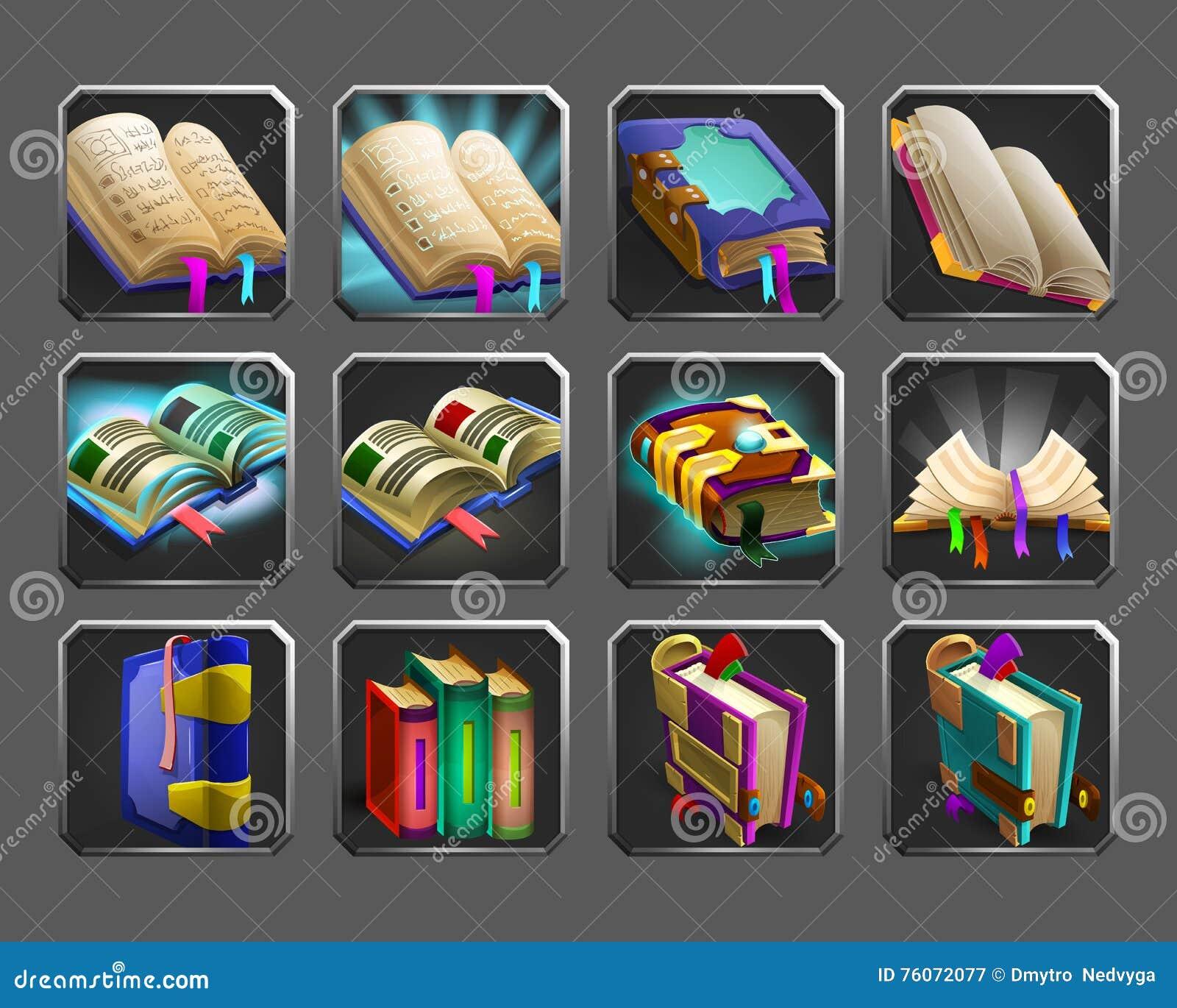 Sistema de los iconos de la decoración para los juegos Colección de libros mágicos