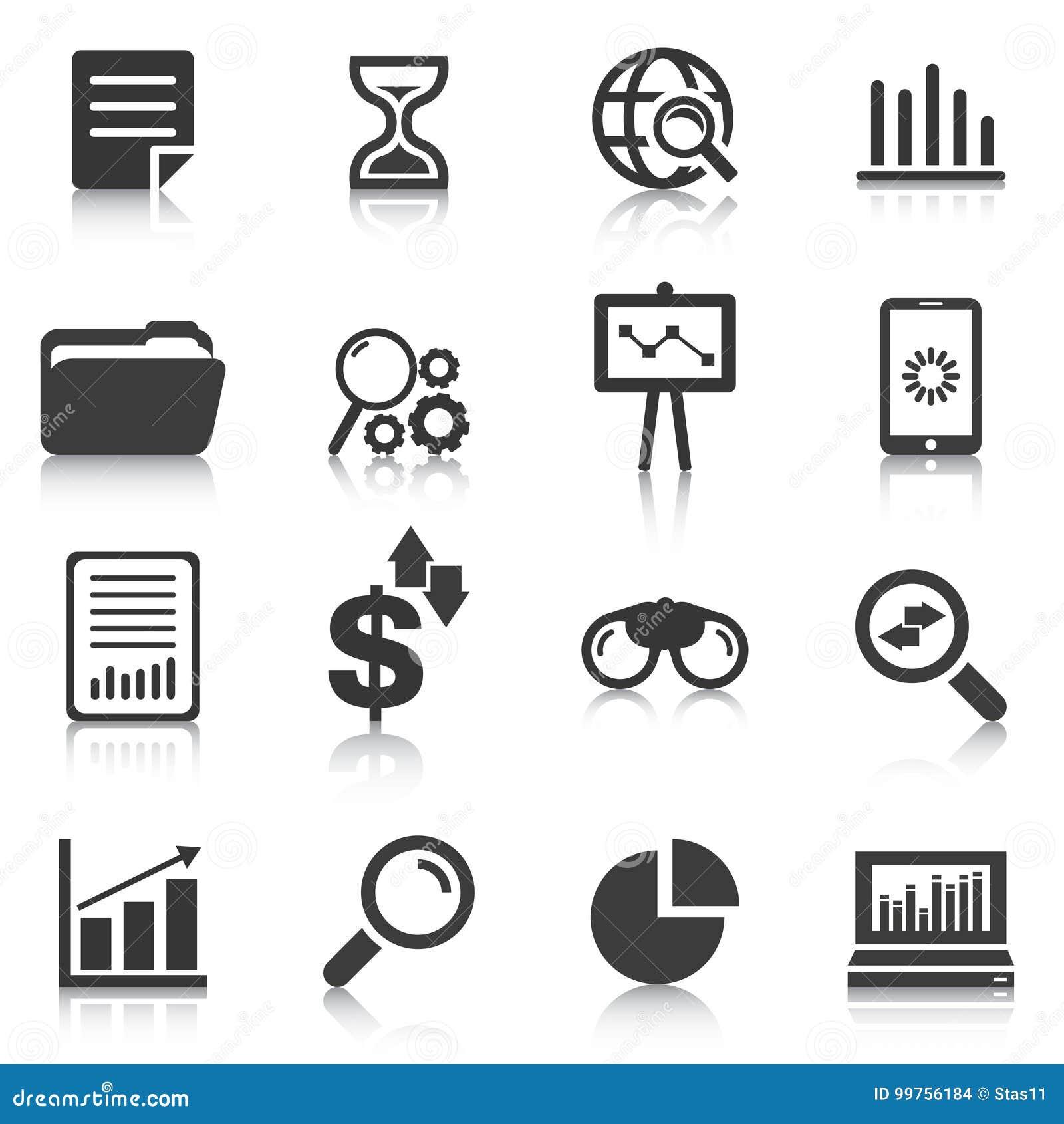 Sistema de los iconos del análisis de datos, cartas, gráficos Ilustración del vector