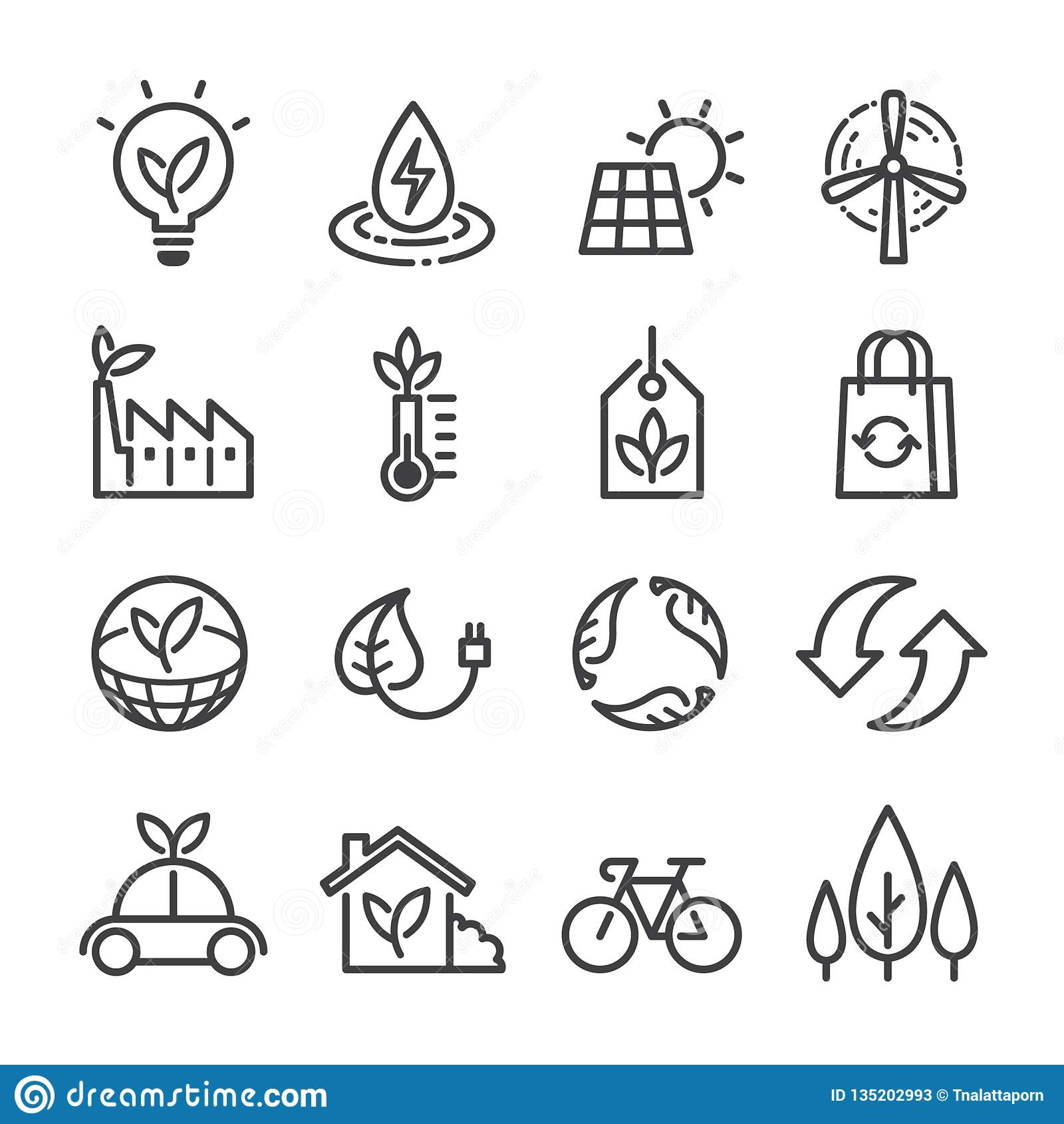 Sistema de los iconos del vector de la ecología, línea estilo fina plana