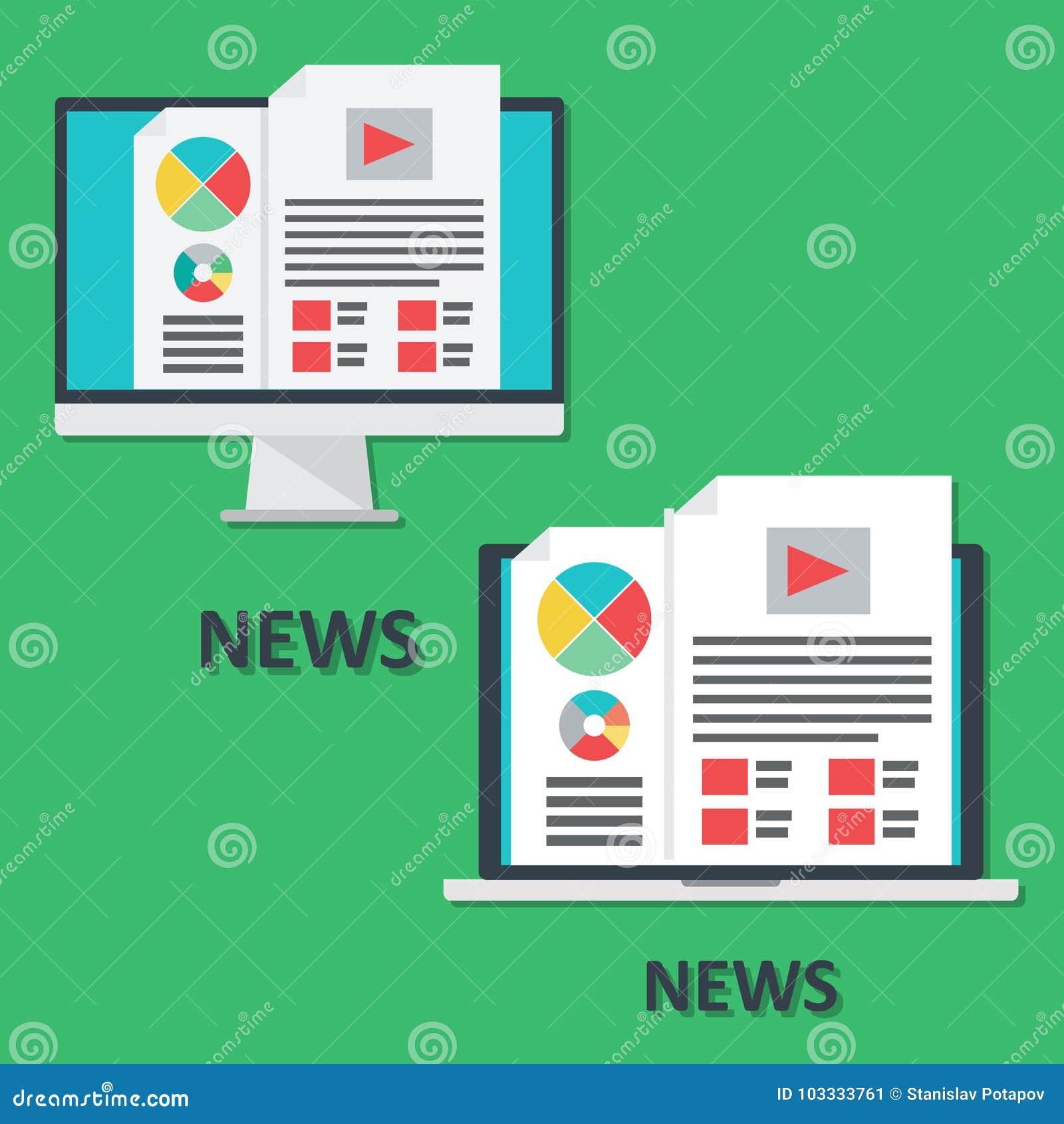 Sistema de los iconos de los dispositivos, del ordenador portátil y del ordenador digitales, noticias en línea i