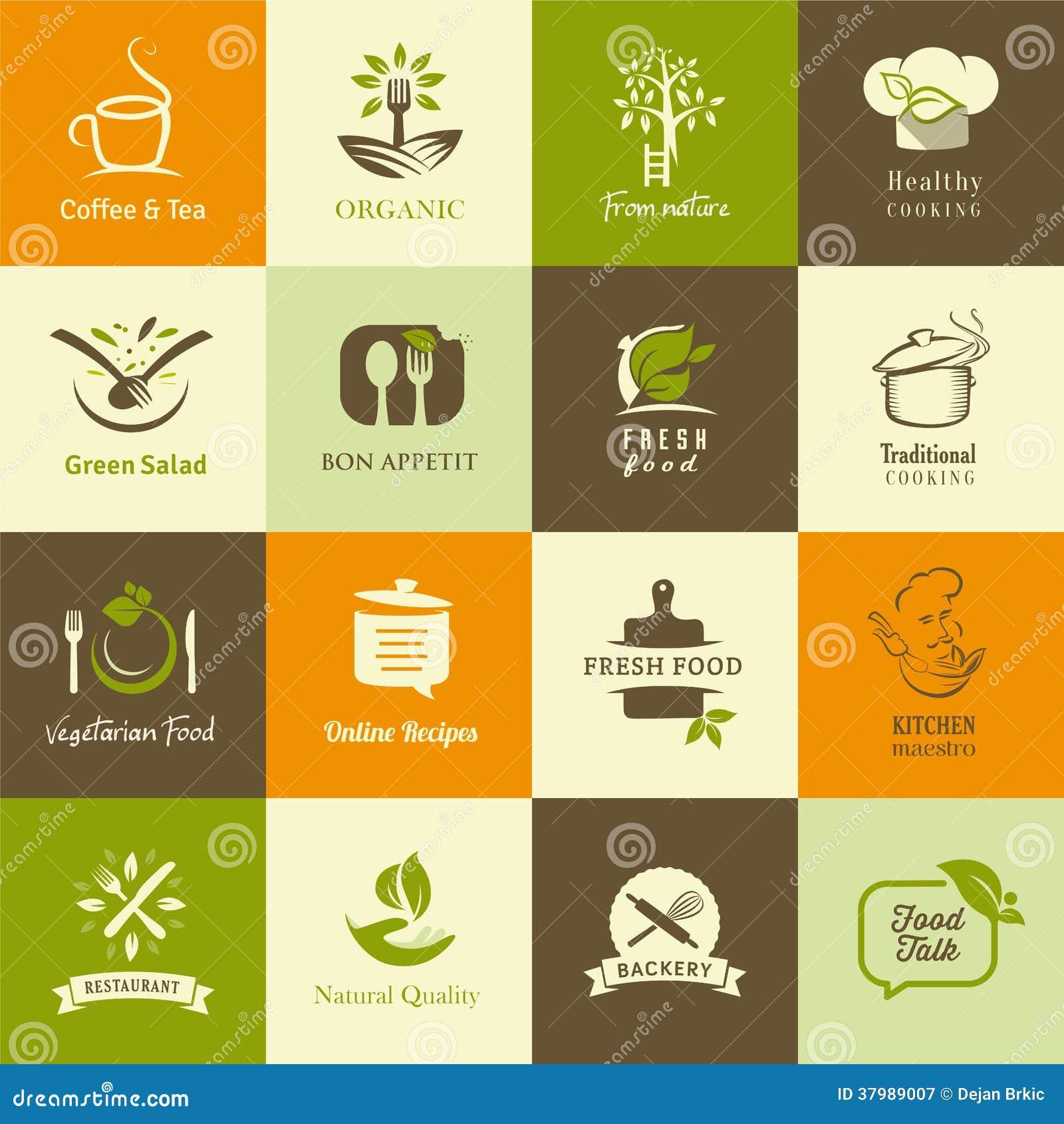 Sistema de los iconos para la comida orgánica y vegetariana, cocinar y los restaurantes