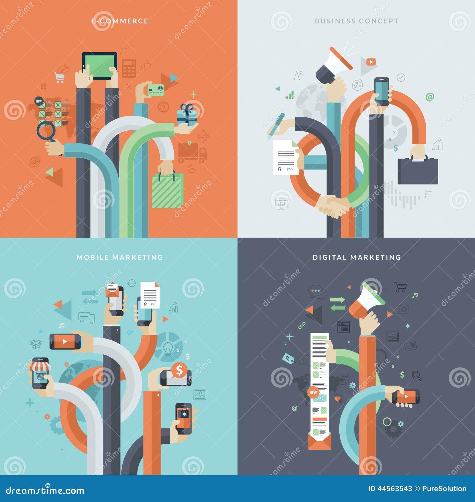 Sistema de los iconos planos del concepto de diseño para el negocio y el márketing
