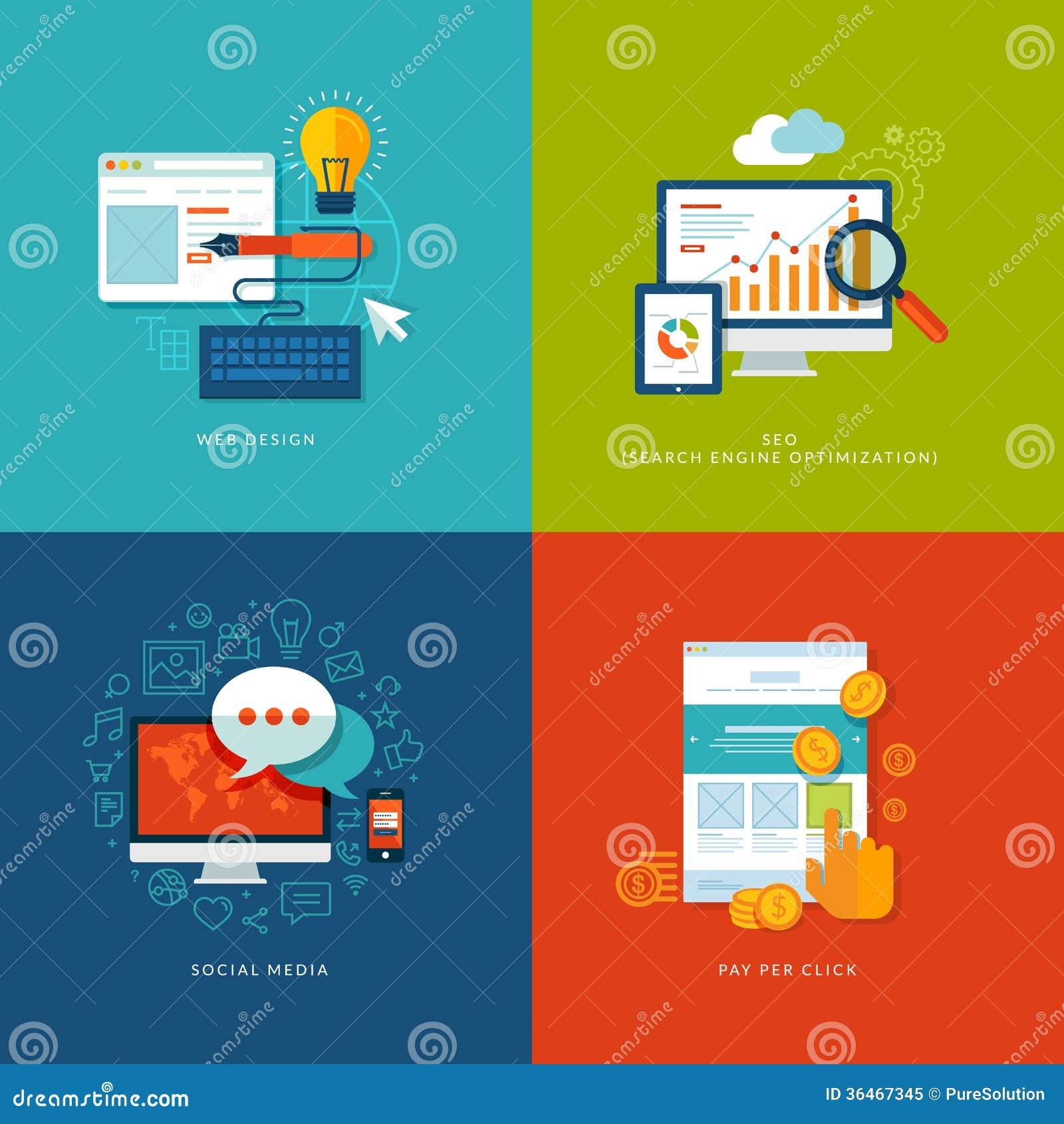 Sistema de los iconos planos del concepto de diseño para el web y mobil