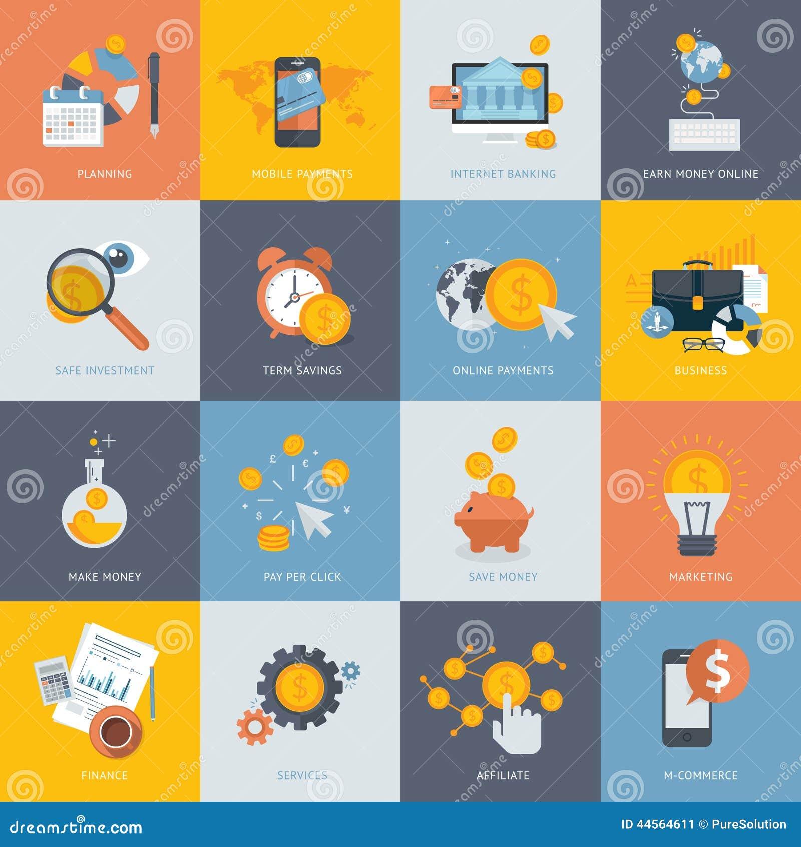 Sistema de los iconos planos del concepto de diseño para las finanzas