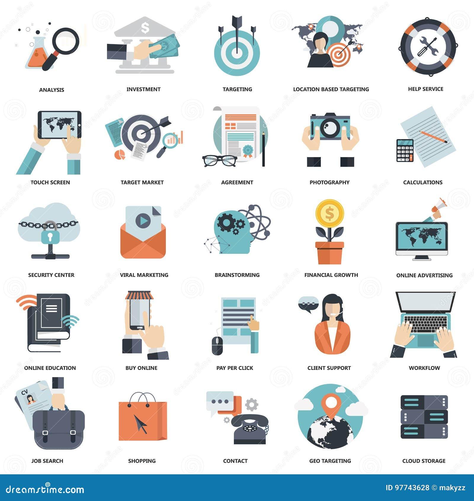 Sistema de los iconos planos del diseño para el negocio, paga por el tecleo, proceso creativo, buscando, análisis del web, flujo