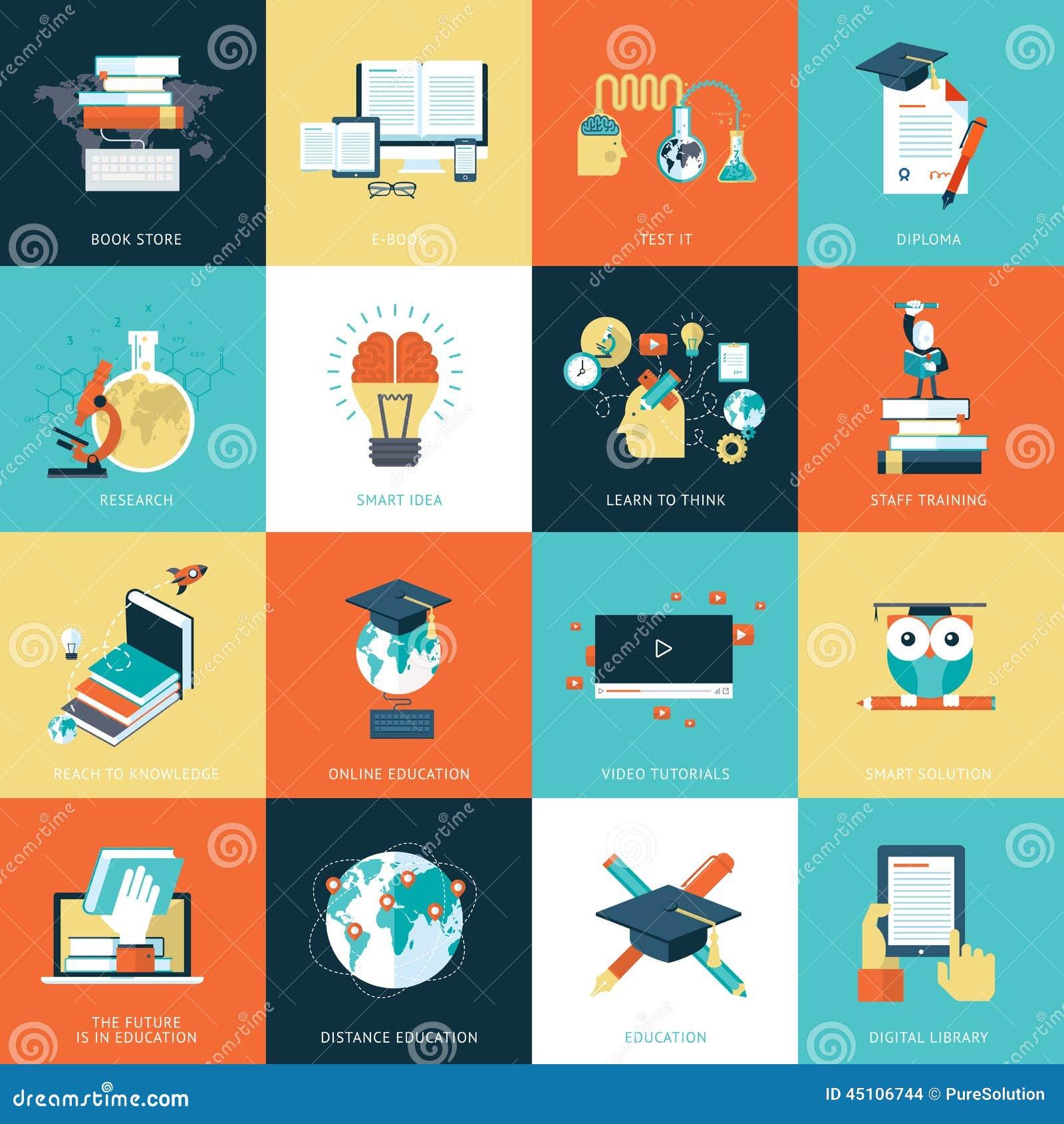 Sistema de los iconos planos del diseño para la educación
